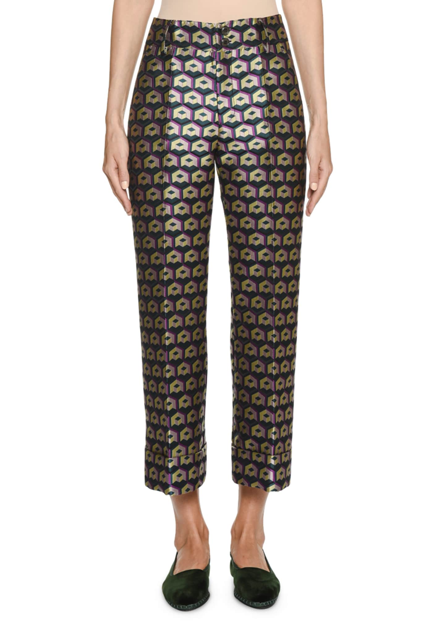 Double J Hendrix Cubi Verdi Geometric High-Rise Trouser