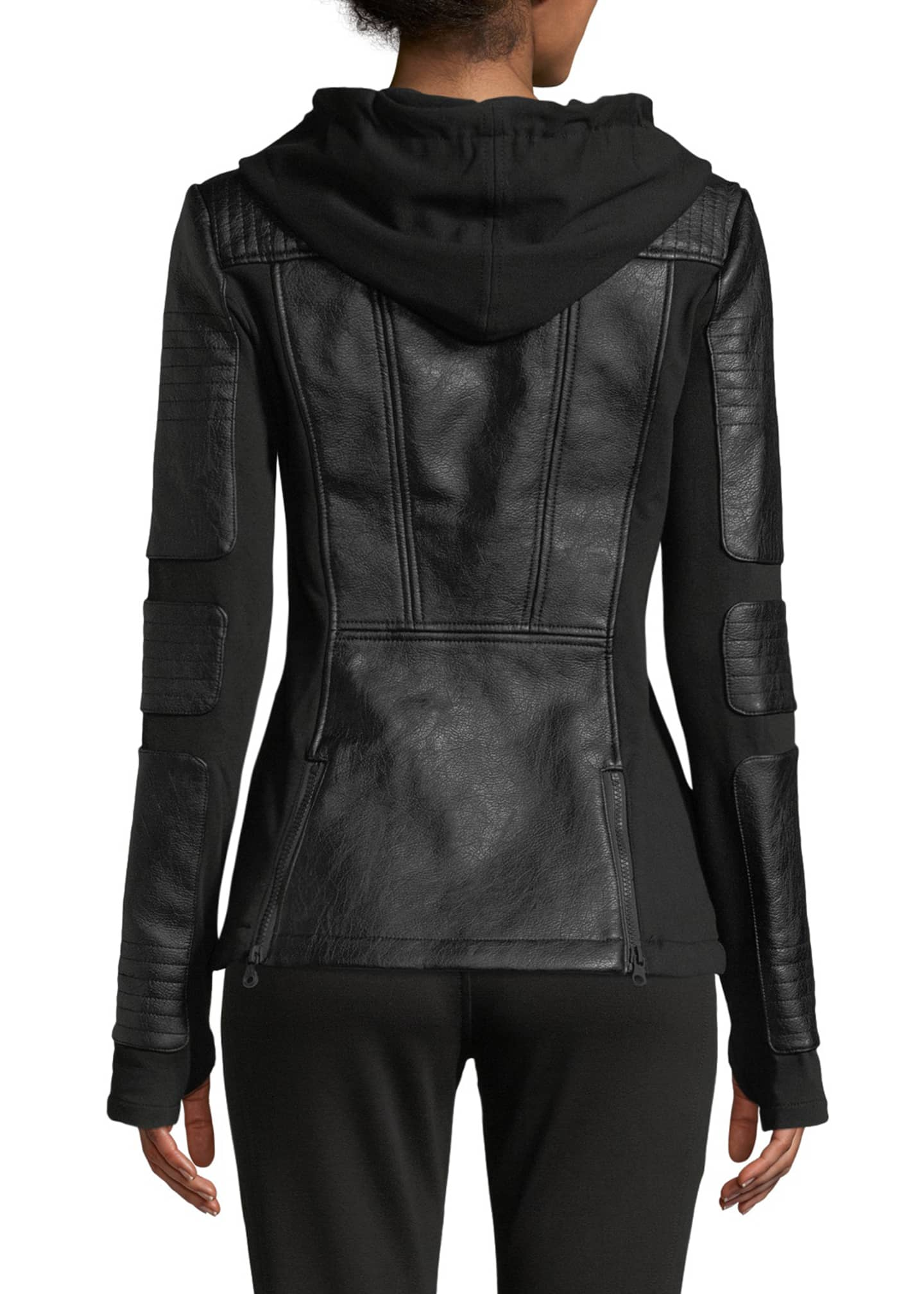 Image 2 of 4: Asymmetrical Hooded Terry Moto Jacket