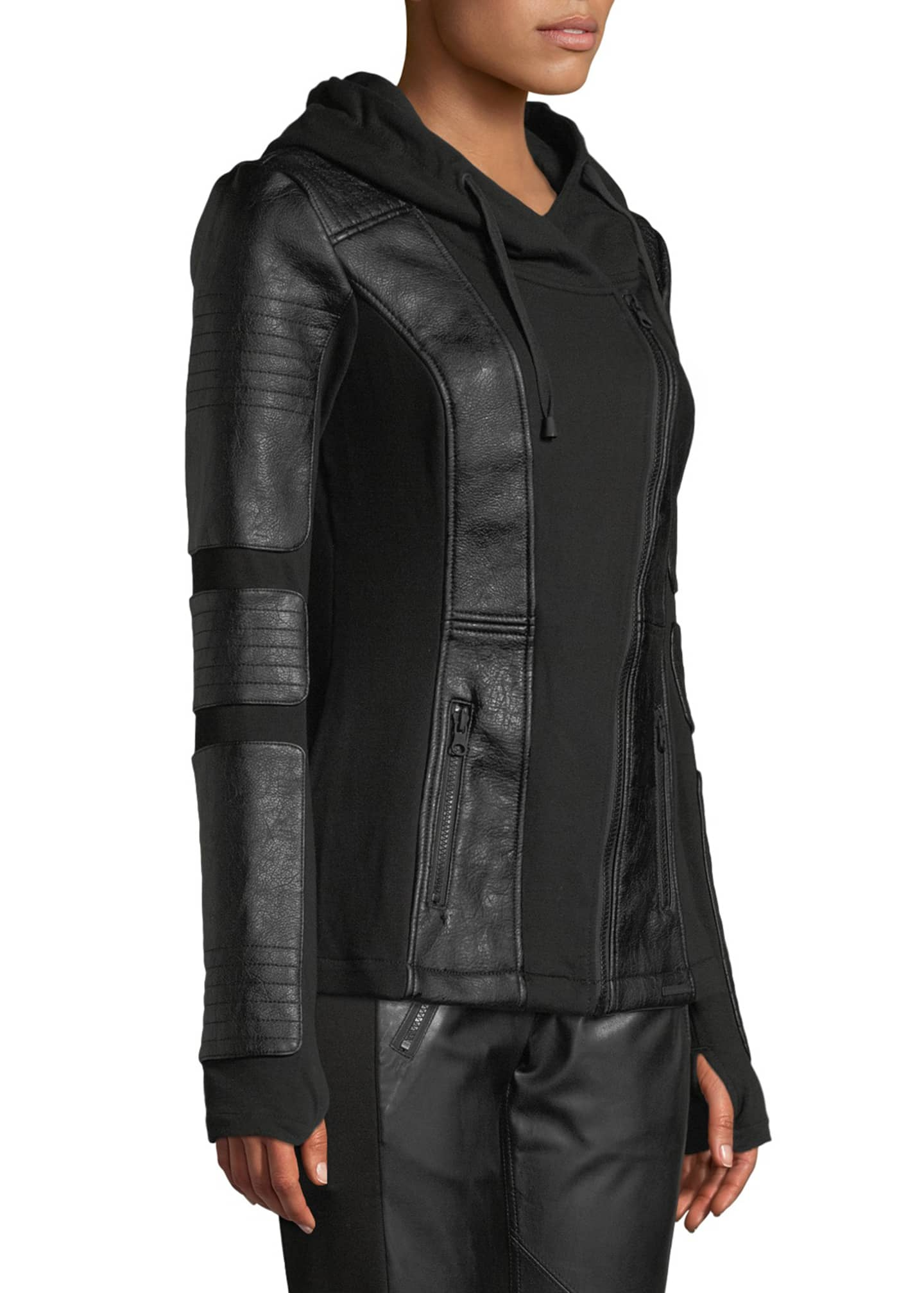 Image 3 of 4: Asymmetrical Hooded Terry Moto Jacket