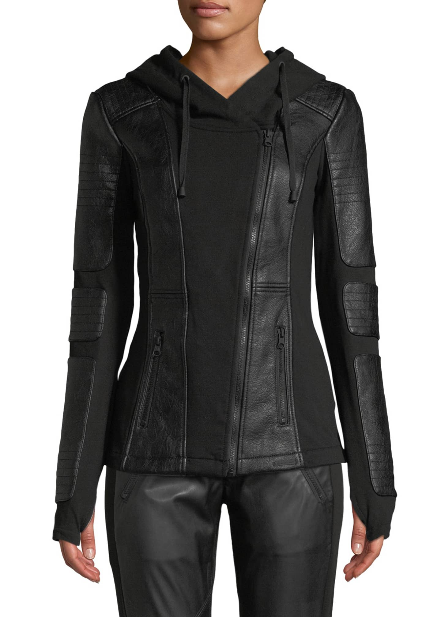 Image 4 of 4: Asymmetrical Hooded Terry Moto Jacket