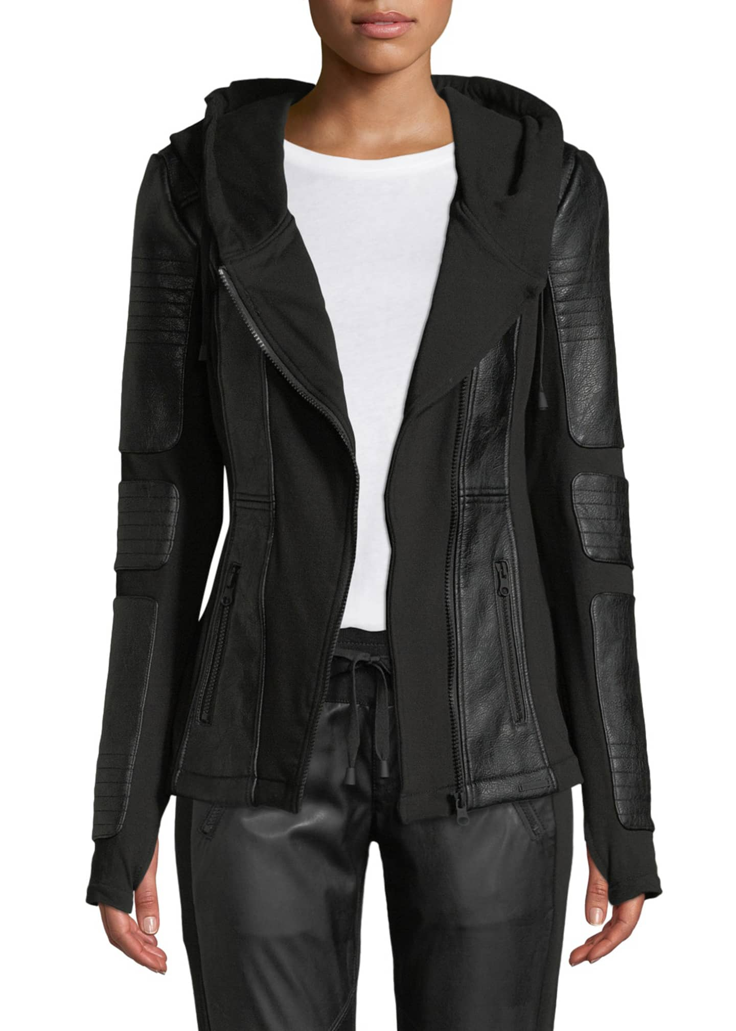 Image 1 of 4: Asymmetrical Hooded Terry Moto Jacket