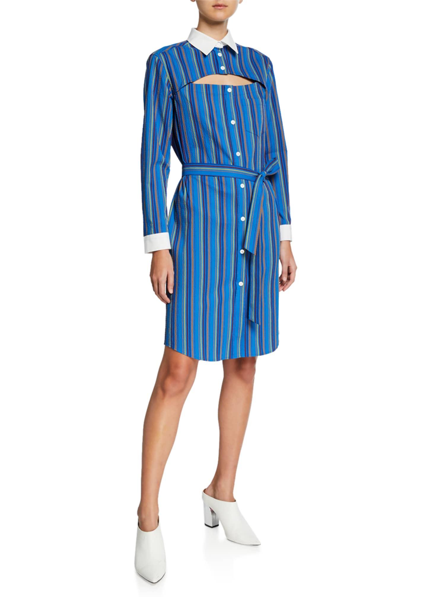 Rosie Assoulin Overlay Button-Down Striped Seersucker Dress