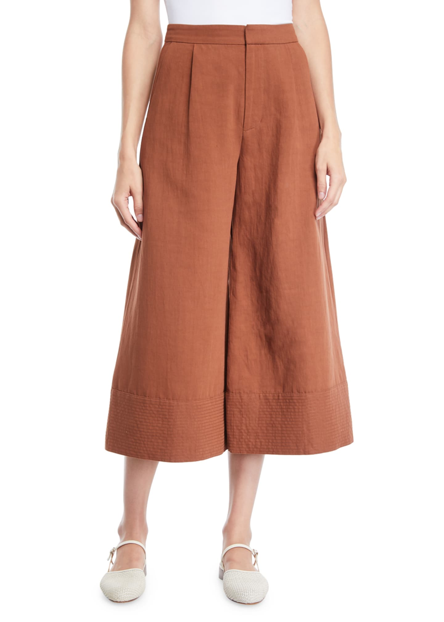 Co Wide-Leg Cropped Pants w/ Trapunto Hem