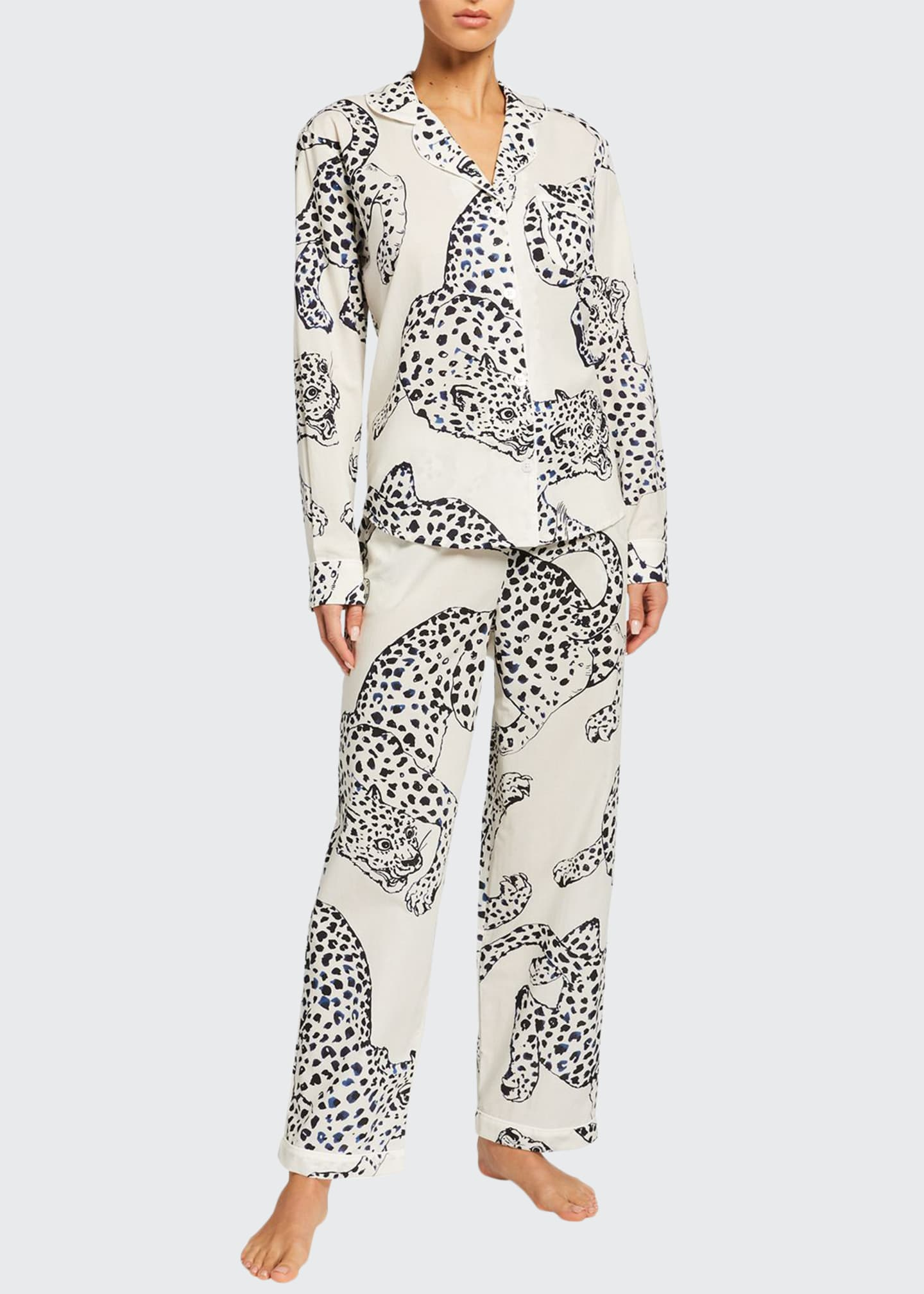 Image 1 of 2: Large Leopard Long-Sleeve Pajama Set