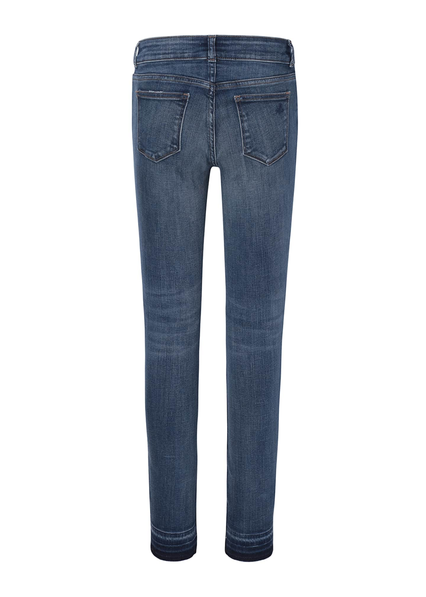 Image 2 of 2: Girls' Medium Wash Distressed Skinny Jeans w/ Double Cross Hem, Size 7-16