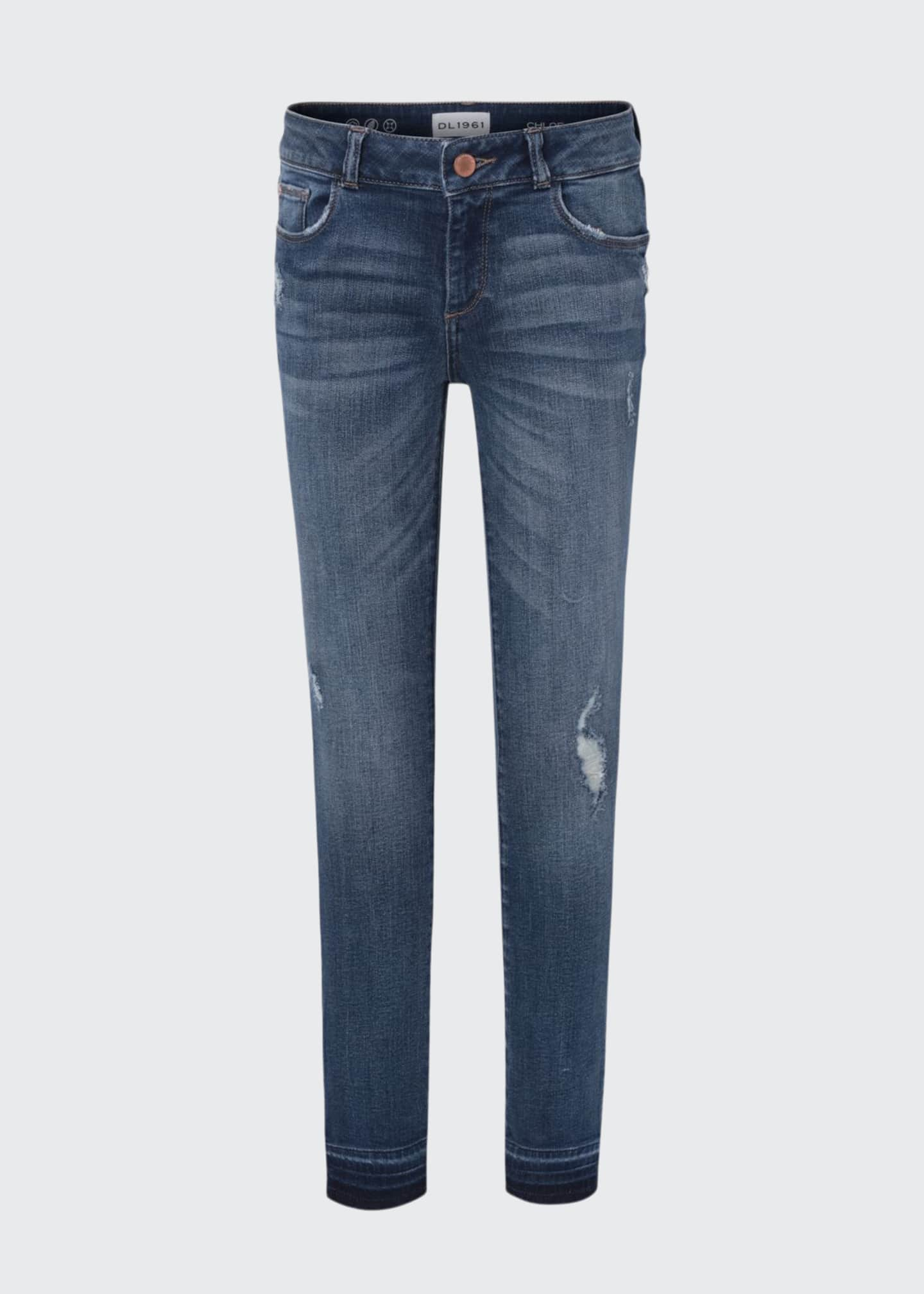 Image 1 of 2: Girls' Medium Wash Distressed Skinny Jeans w/ Double Cross Hem, Size 7-16