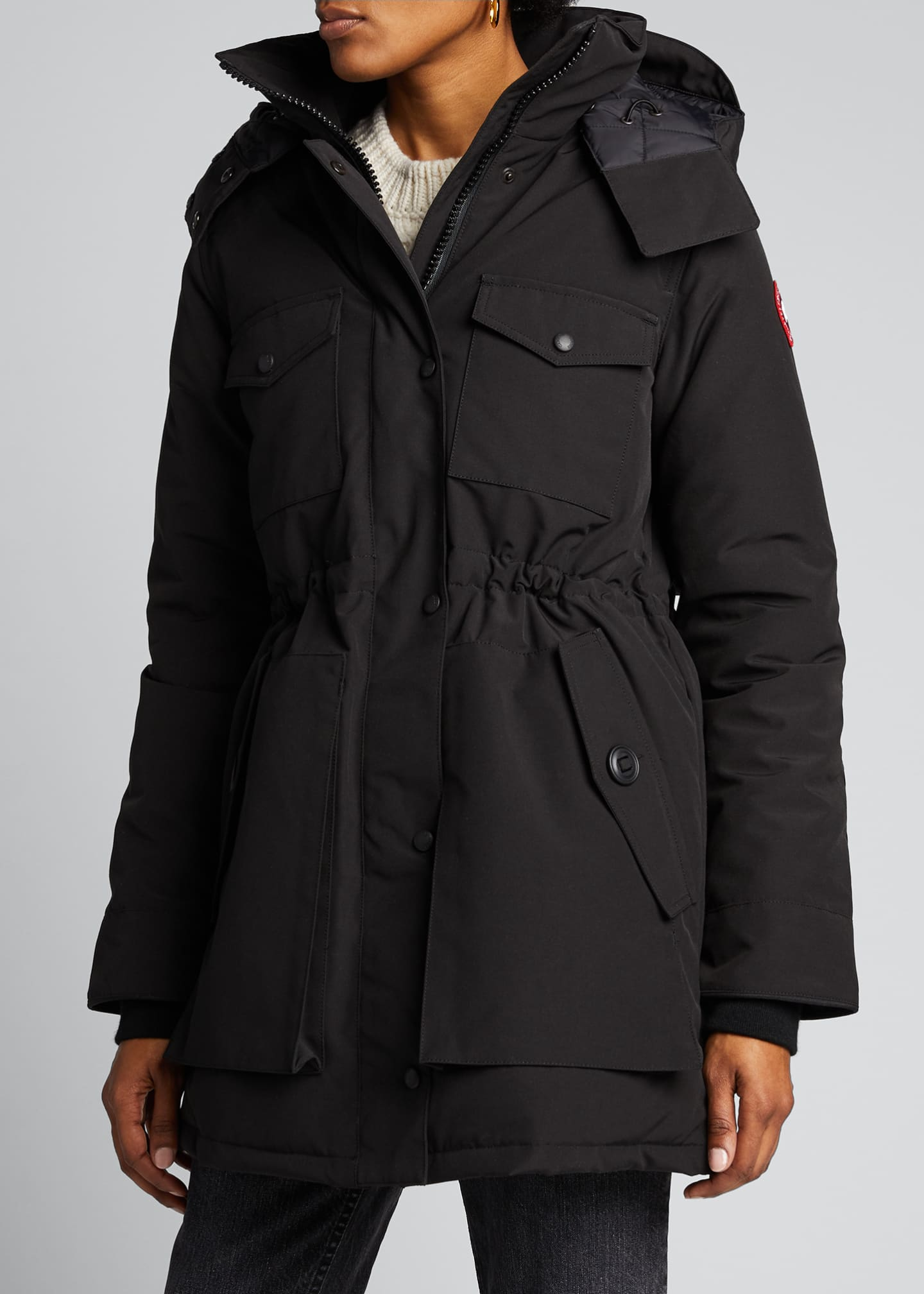 Image 3 of 5: Gabriola Hooded Parka Coat w/ Reflective Back