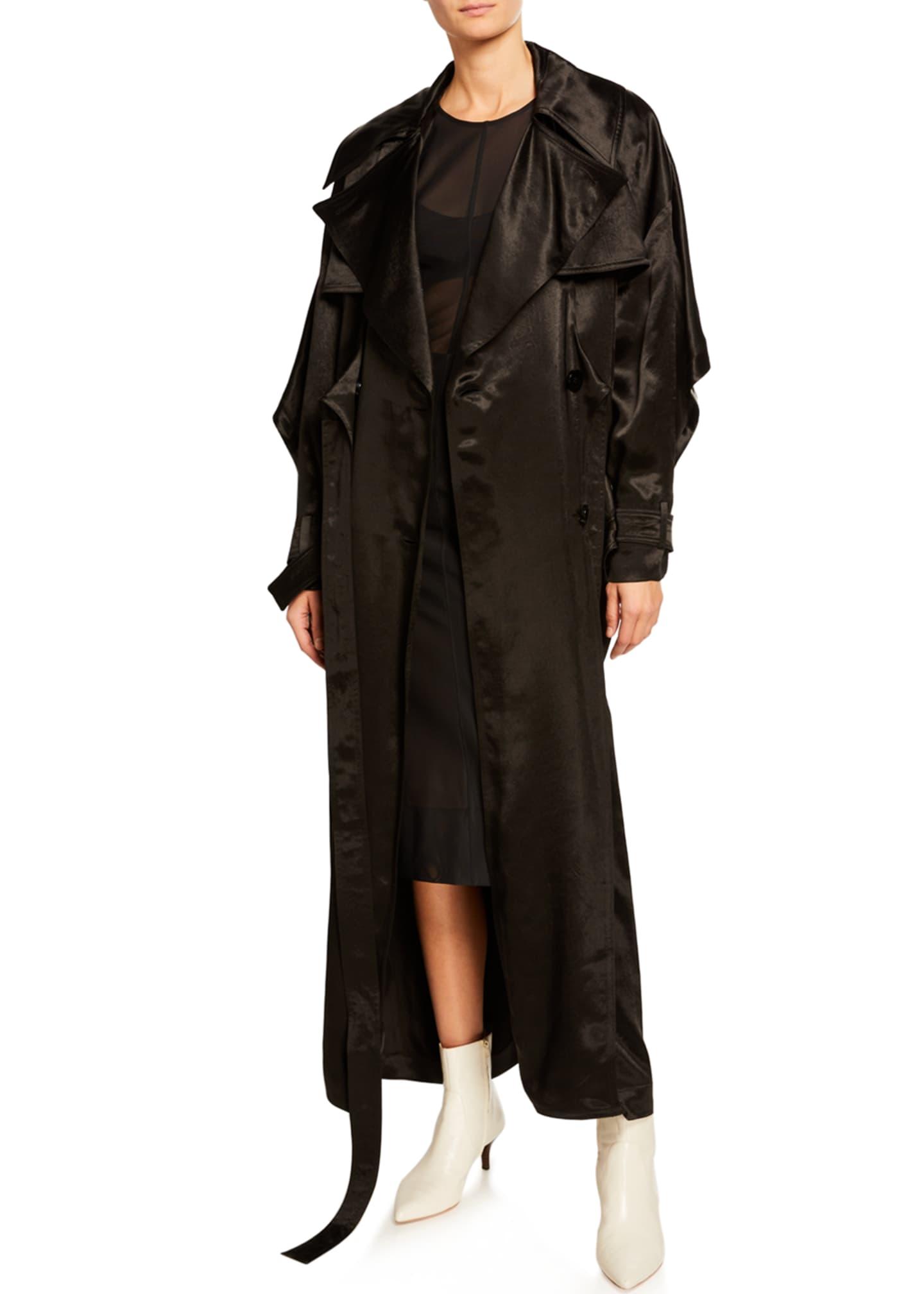 Mugler Satin Tie-Front Long-Sleeve Trench Coat