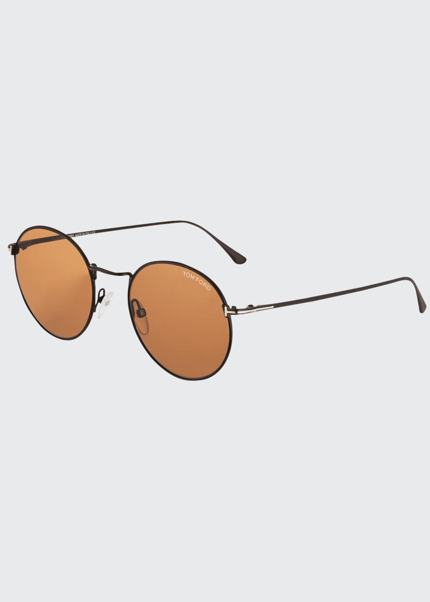 TOM FORD Men's Ryan Round Metal Sunglasses, Brown
