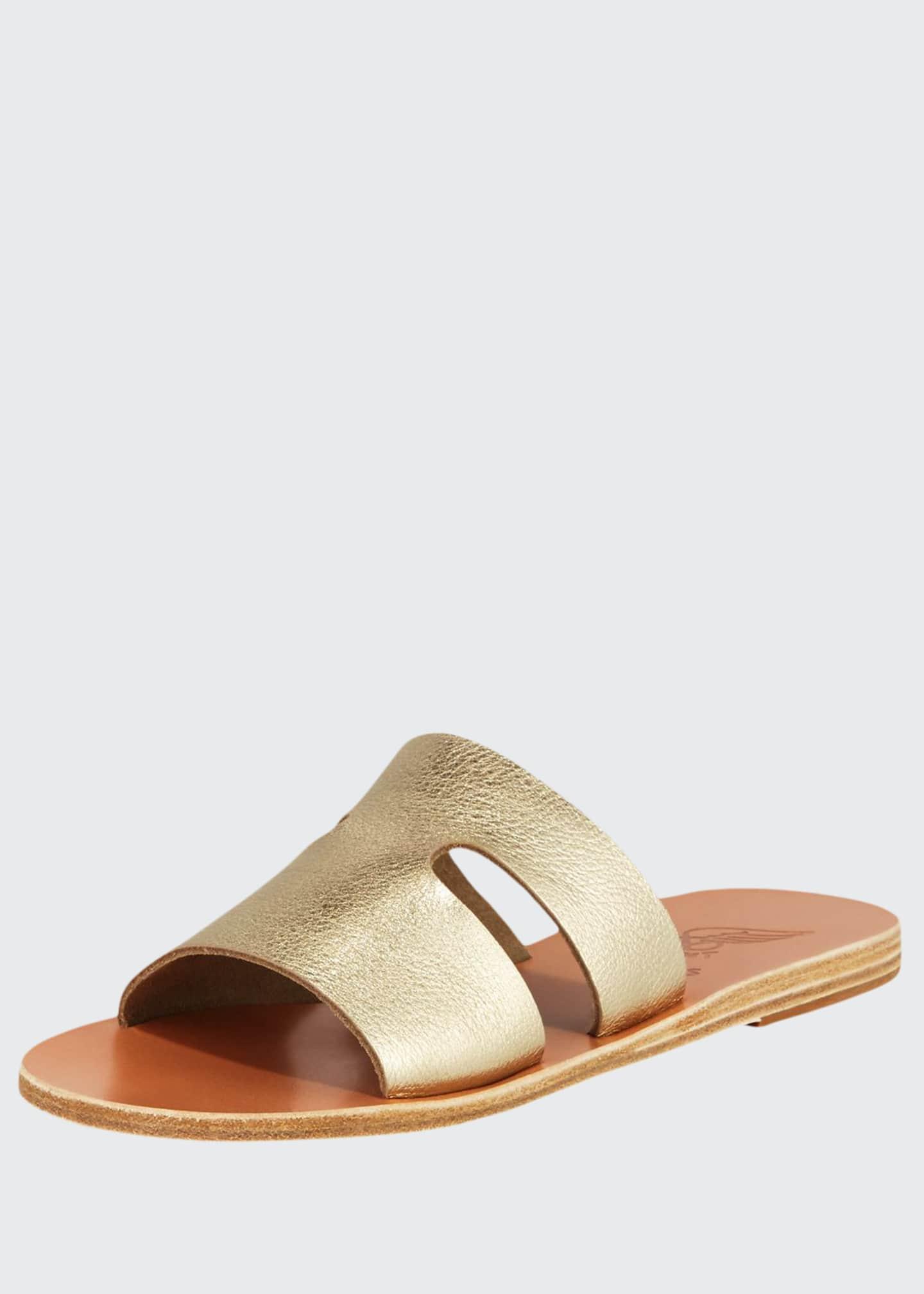 Ancient Greek Sandals Apteros Cutout Metallic Leather Flat