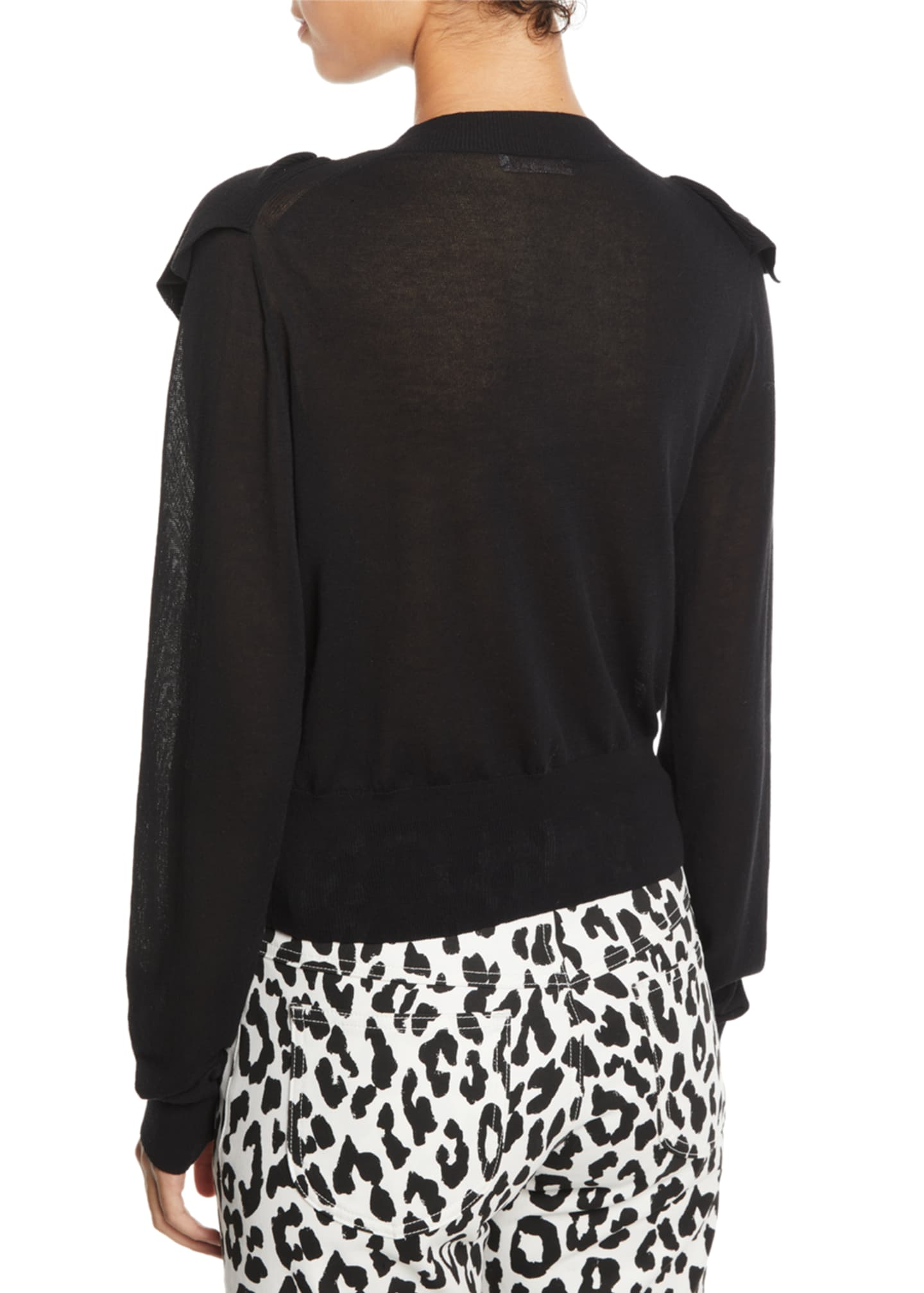 Image 2 of 2: Double-Ruffle Long-Sleeve Knit Top