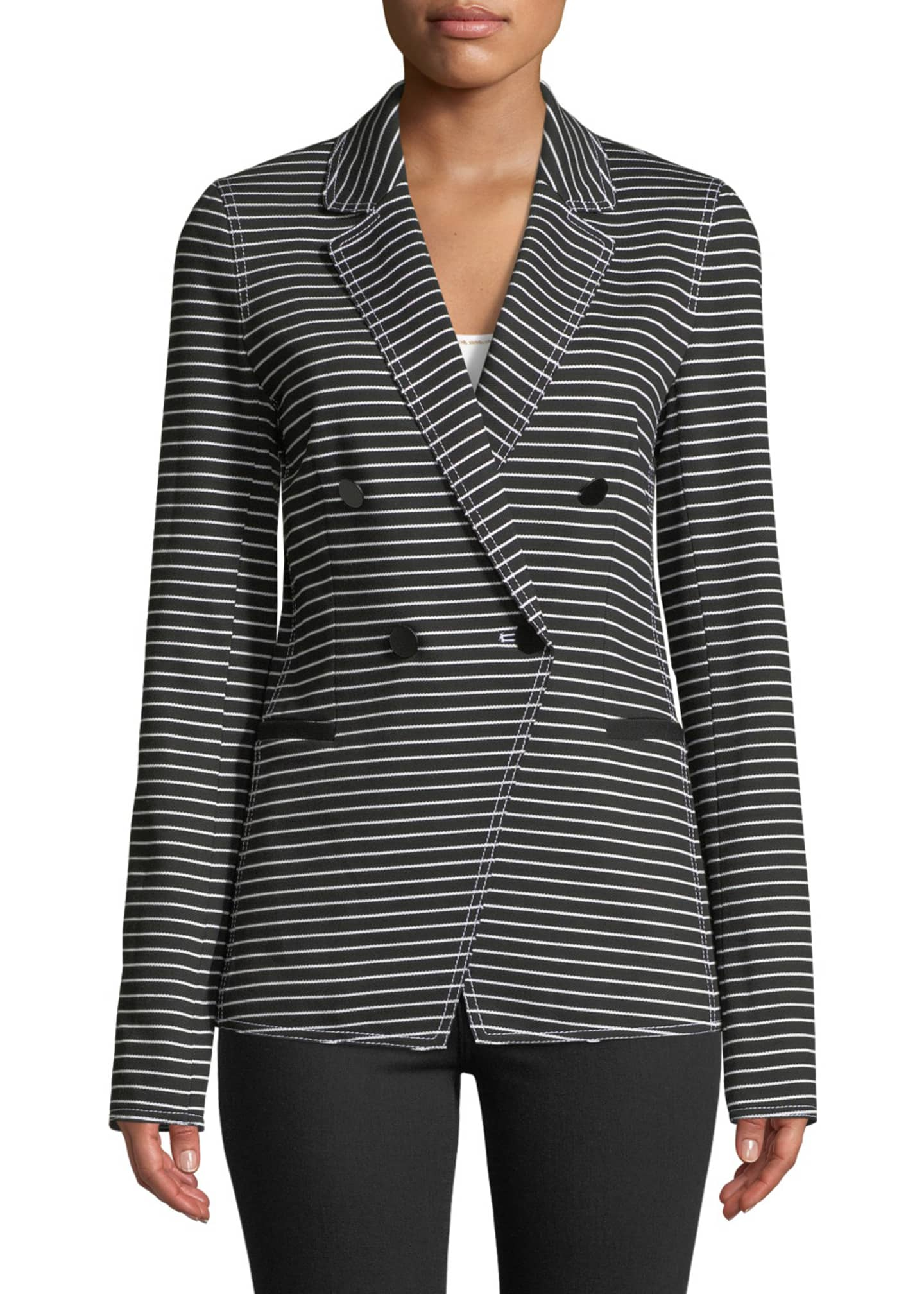 Image 1 of 3: Devin Double-Breasted Striped Twill Jacket