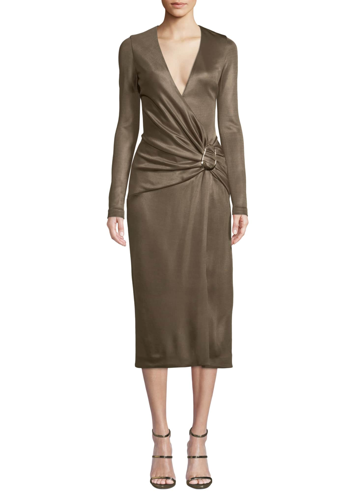 CUSHNIE Long-Sleeve Wrap-Front w/ Hardware Cocktail Dress