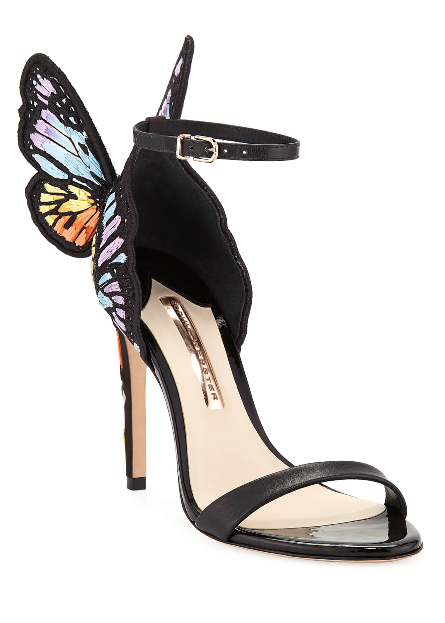Sophia Webster Chiara Embroidered Satin Butterfly Sandals