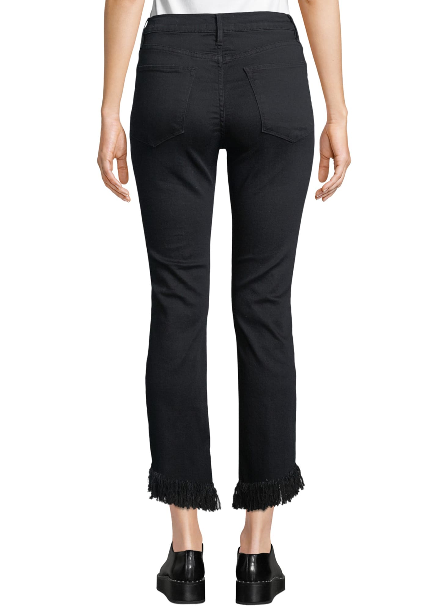 Image 2 of 3: Le High Straight-Leg Jeans with Shredded Hem