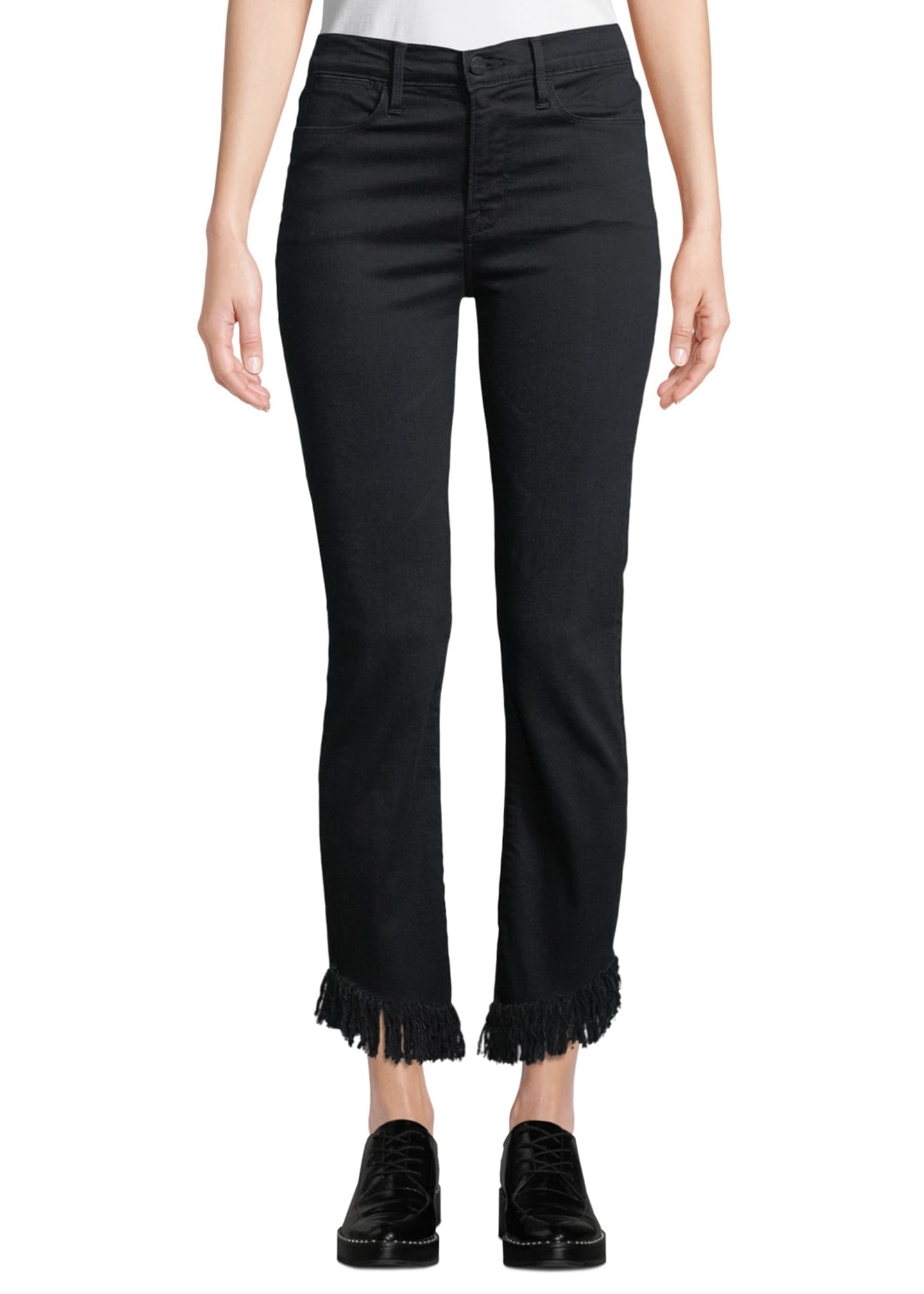 Image 1 of 3: Le High Straight-Leg Jeans with Shredded Hem
