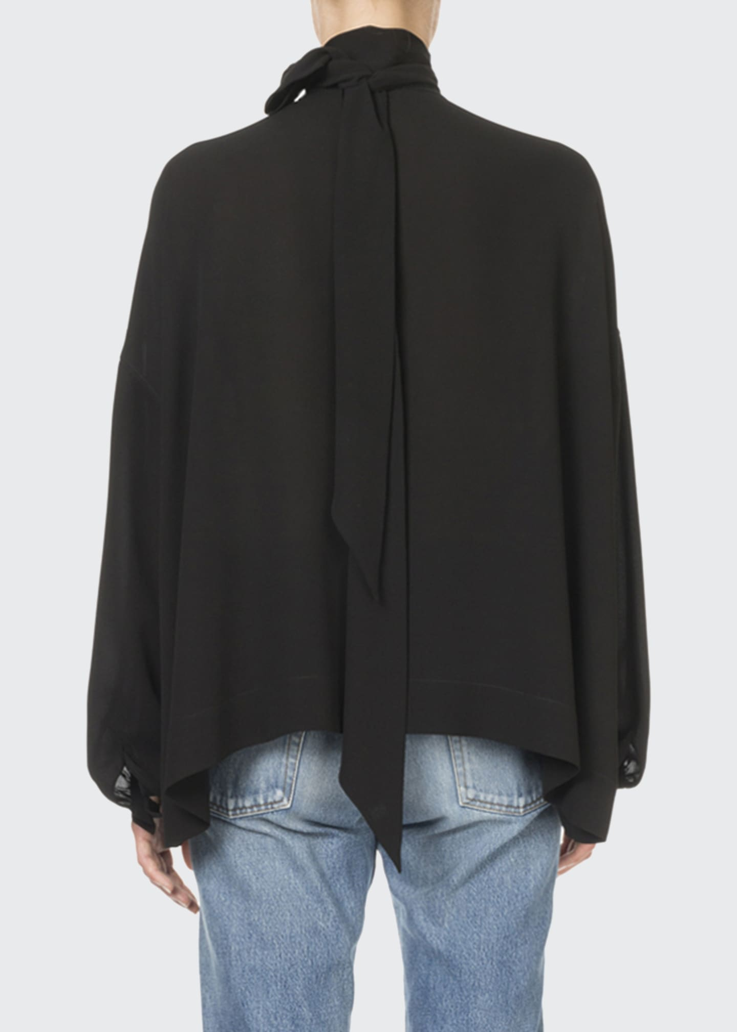 Image 2 of 2: Long-Sleeve Tie-Neck Fluid Crepe Blouse