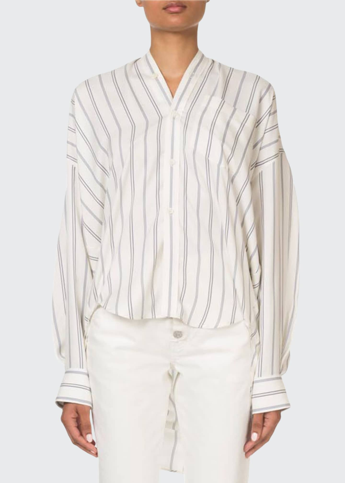 Balenciaga Striped Button-Front Tie-Back Swing Top