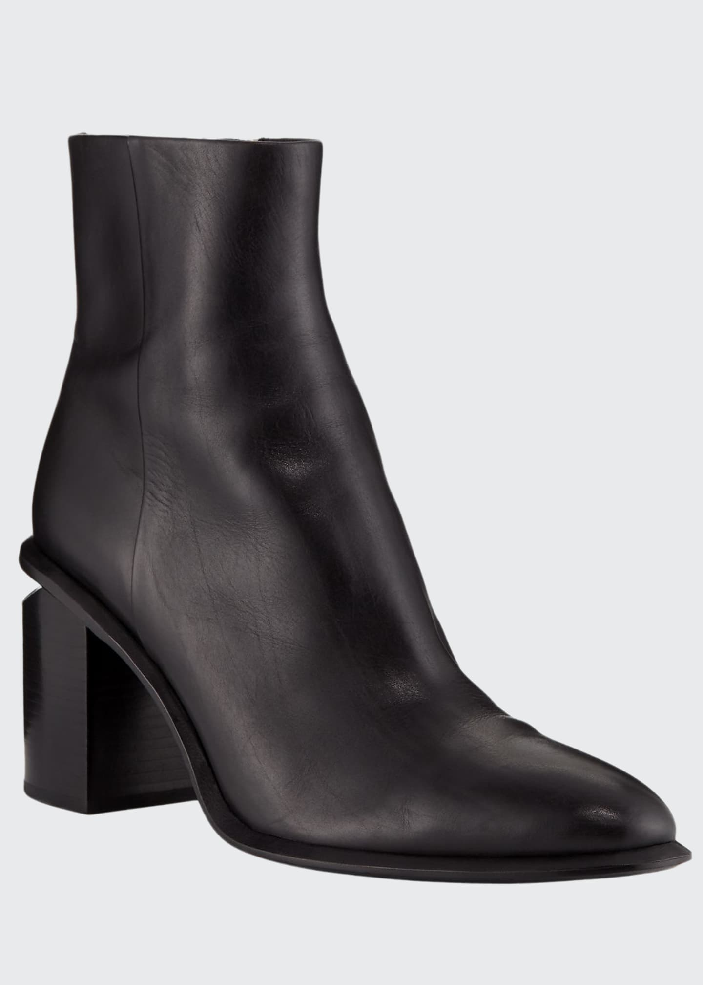 Alexander Wang Anna Block-Heel Leather Booties - Rhodium-Tone