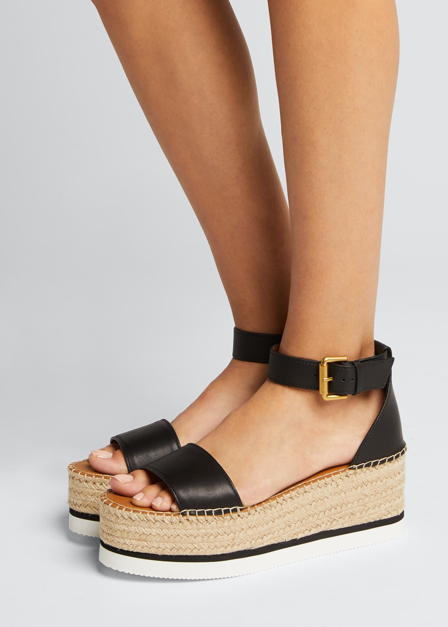 Image 2 of 5: Glyn Leather Platform Espadrilles
