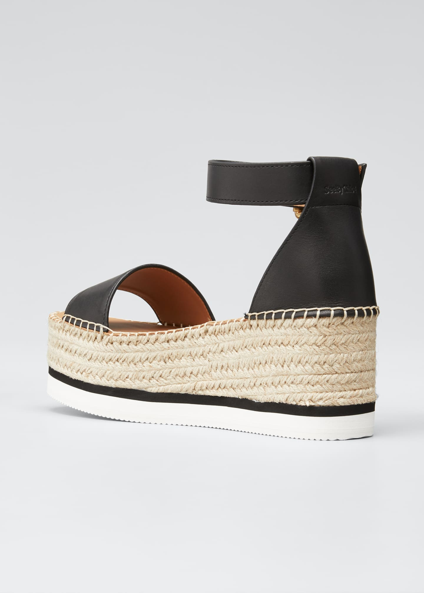 Image 4 of 5: Glyn Leather Platform Espadrilles