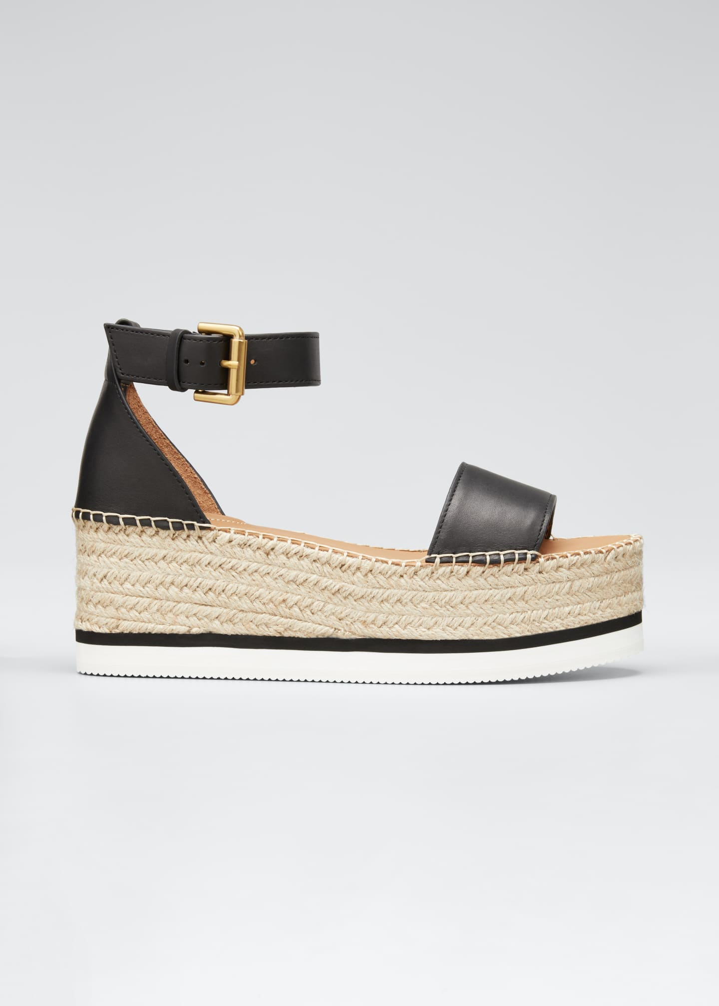 Image 1 of 5: Glyn Leather Platform Espadrilles