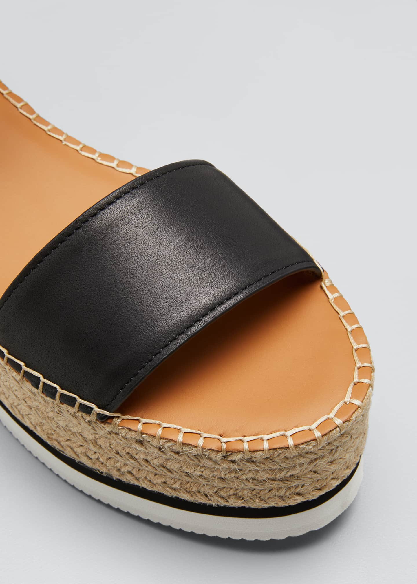 Image 5 of 5: Glyn Leather Platform Espadrilles