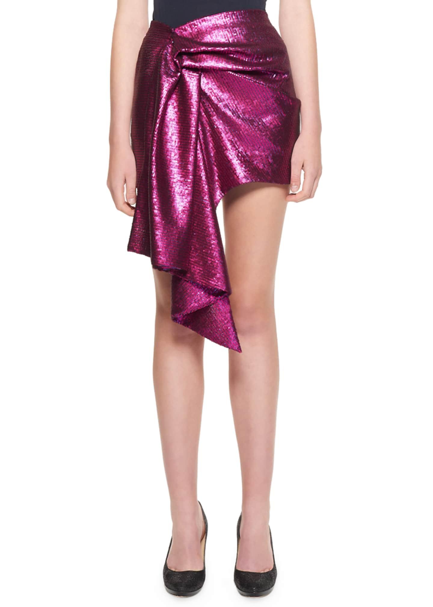 Halpern Sequin Asymmetric Side-Draped Skirt
