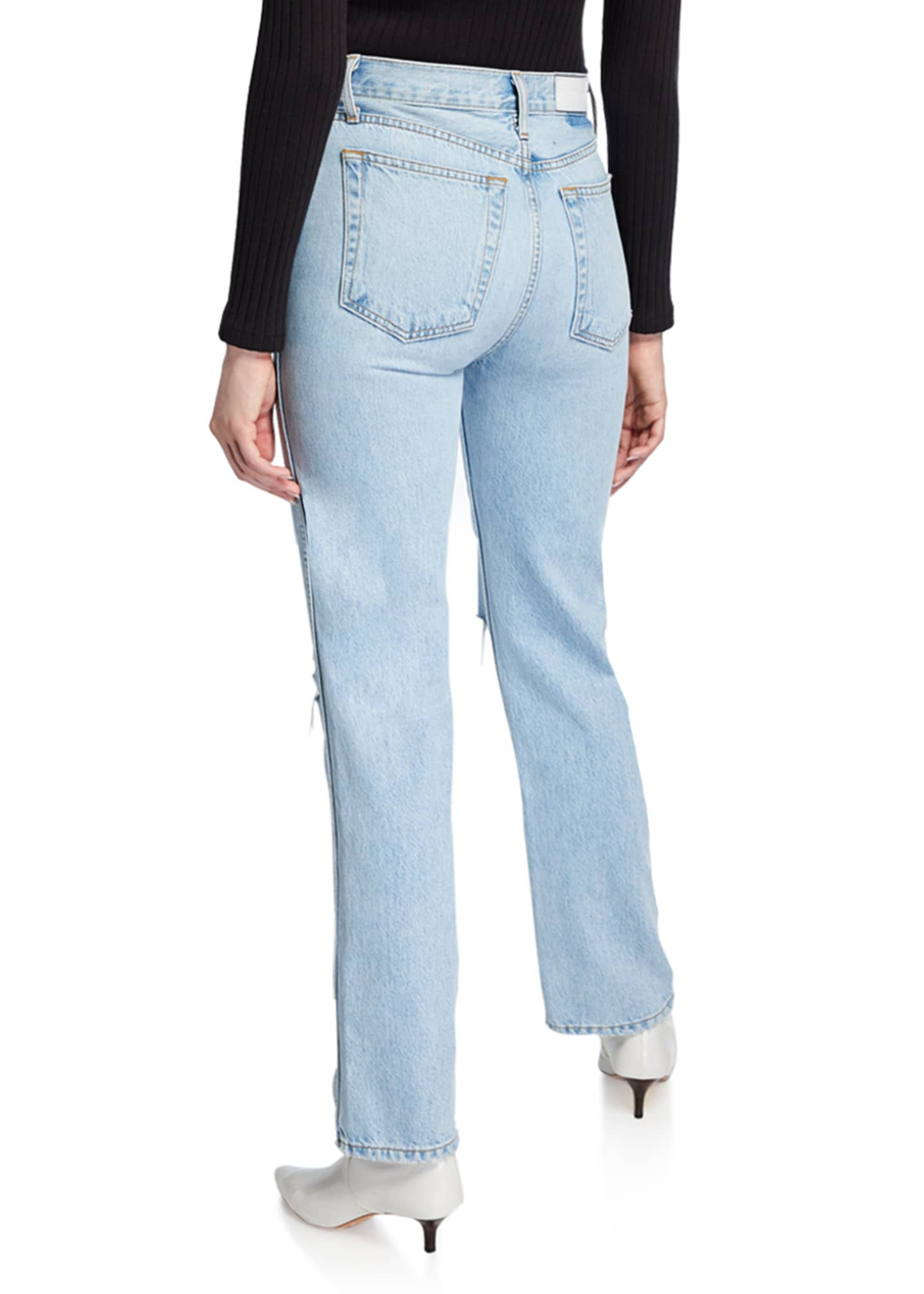 Image 2 of 2: High-Rise Distressed Rigid Straight-Leg Jeans
