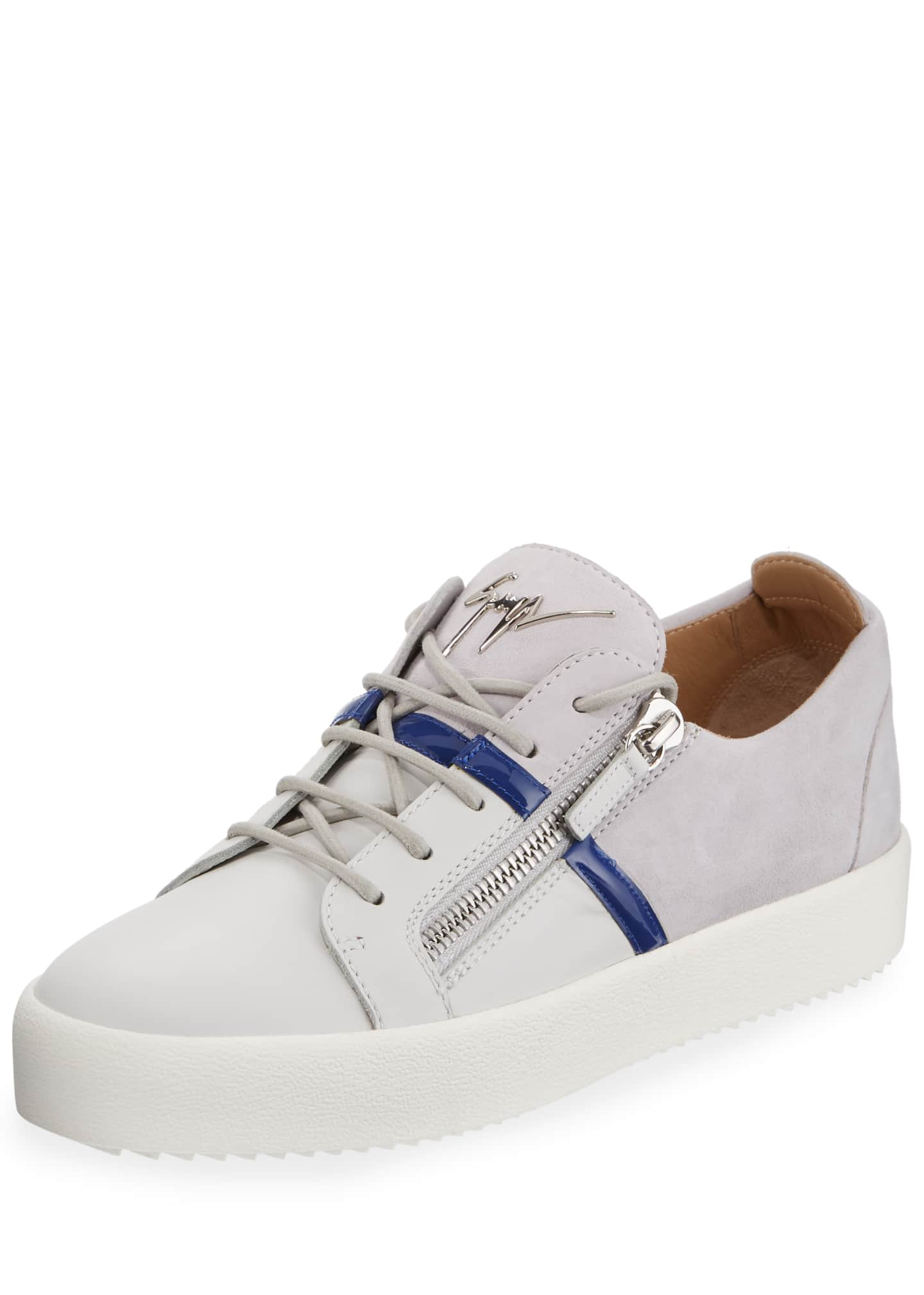 Giuseppe Zanotti Men's Mixed-Media Double-Zip Low-Top Sneakers