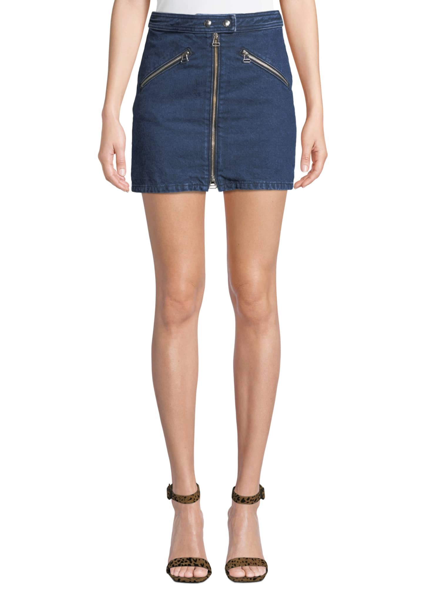Rag & Bone Racer Zip-Front Denim Mini Skirt