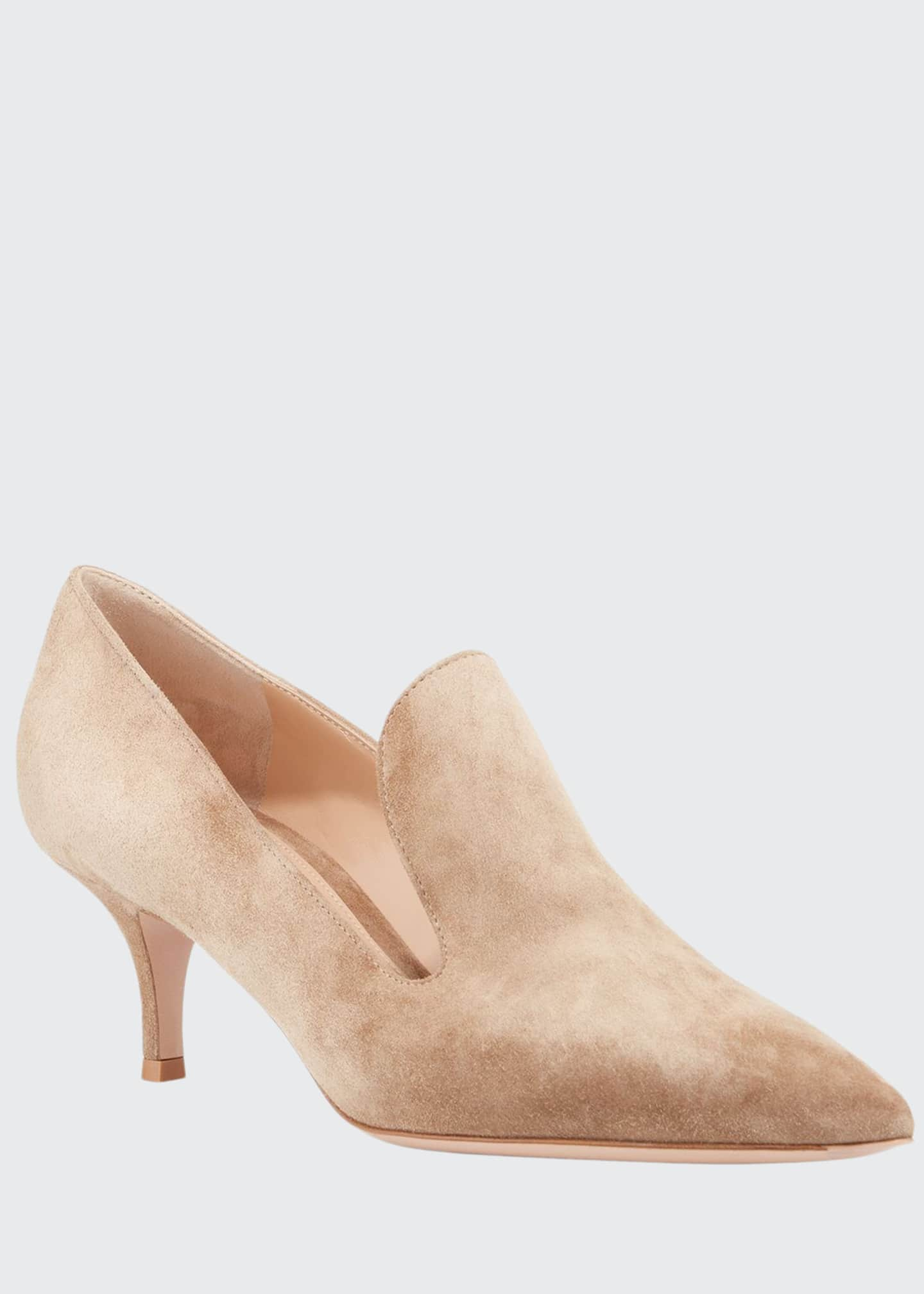 Gianvito Rossi Suede Pointed Heeled Loafers