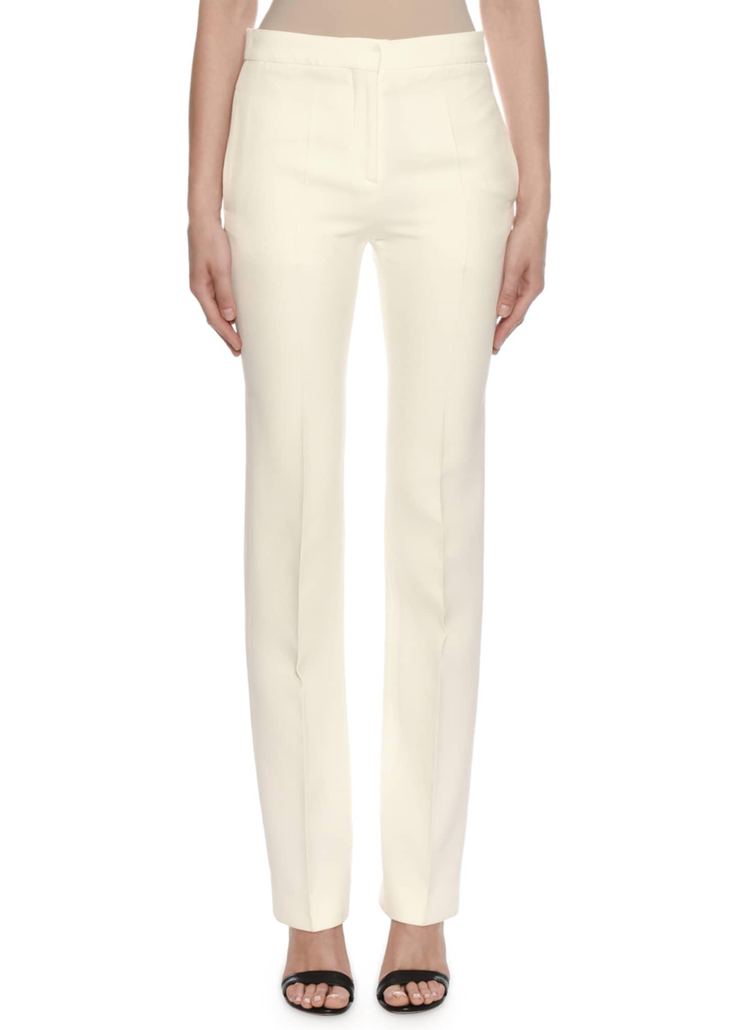 Alexander McQueen Mid-Rise Classic Straight-Leg Wool-Silk Trousers
