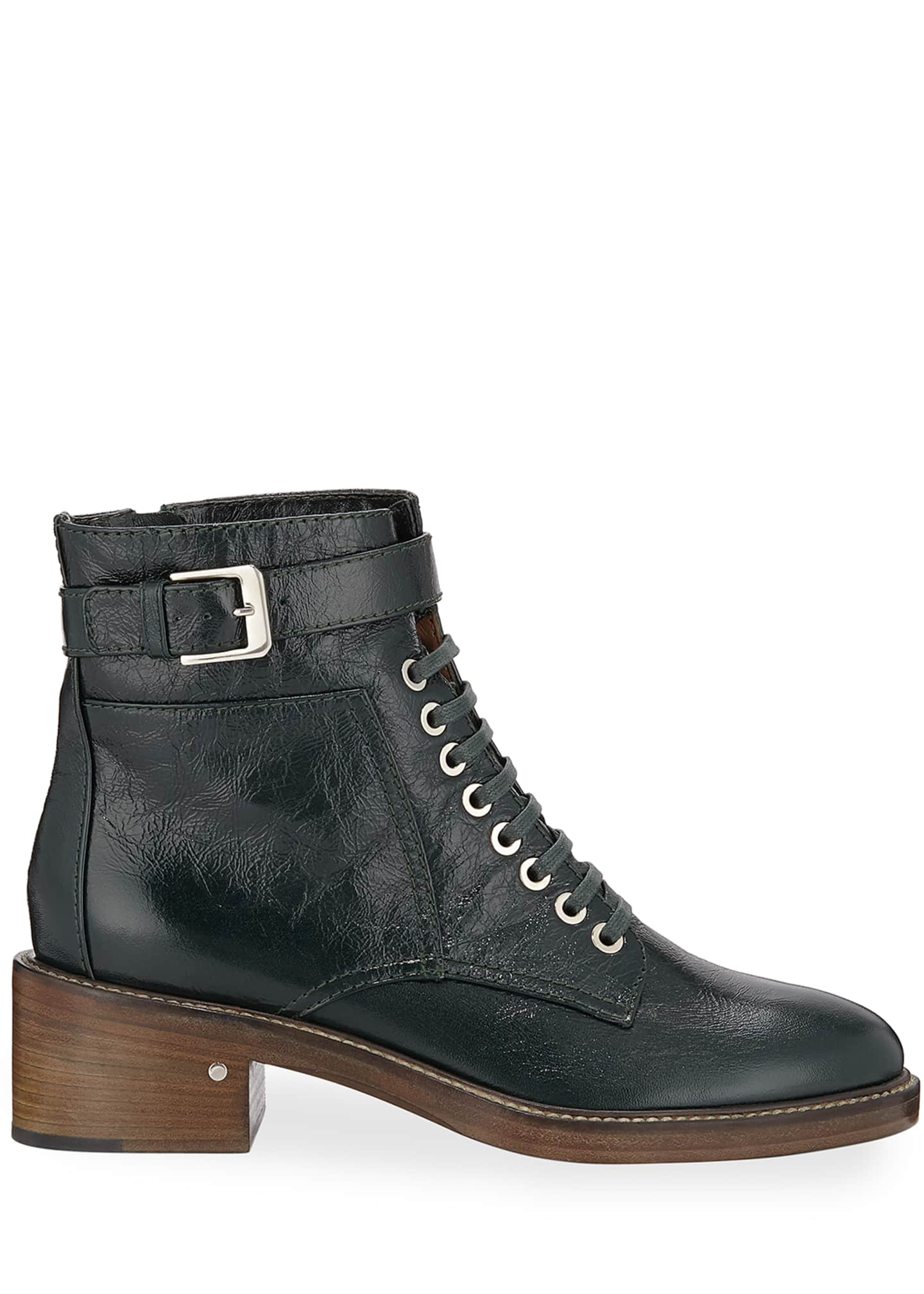 Image 2 of 3: Solene Leather Combat Boots
