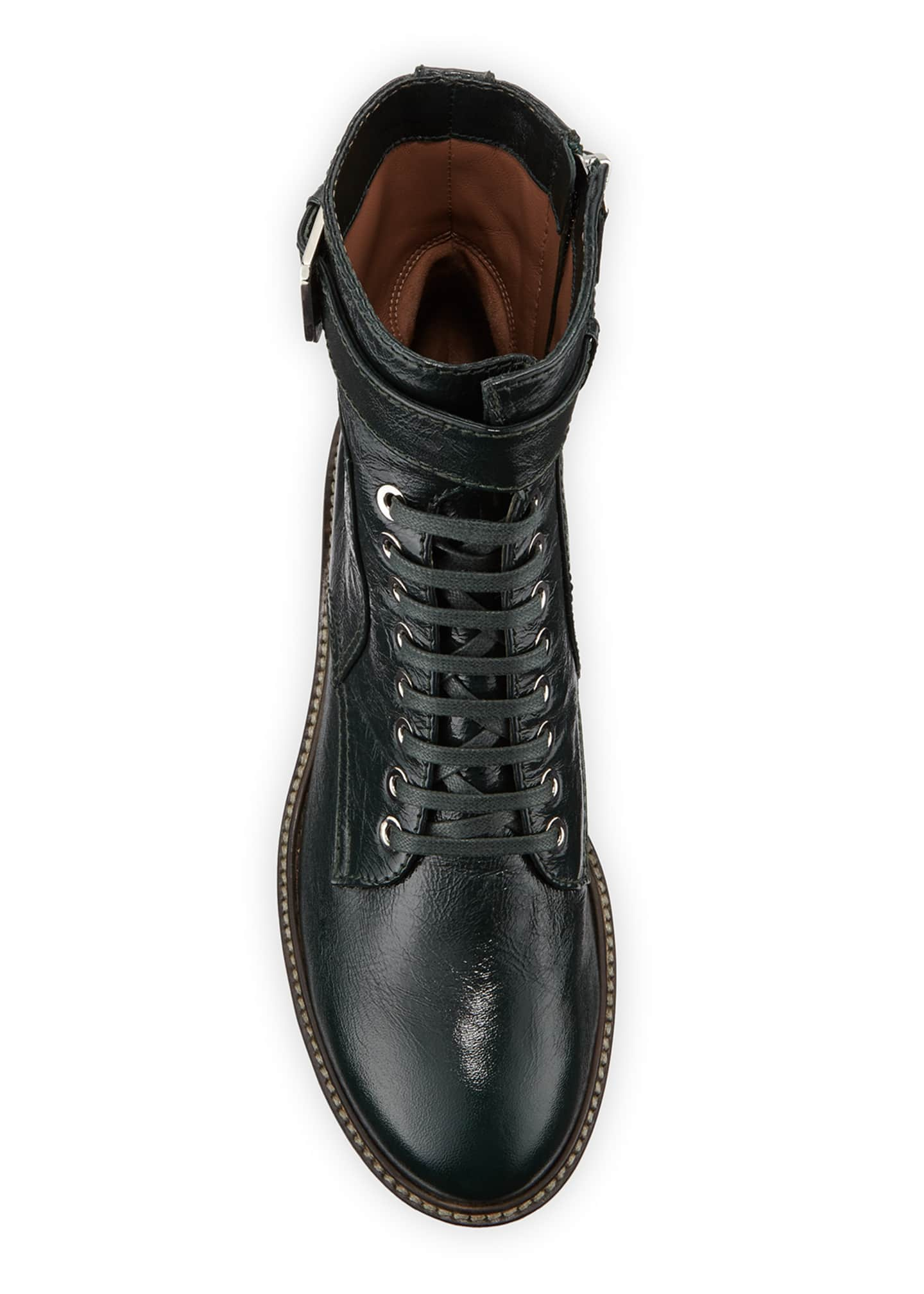 Image 3 of 3: Solene Leather Combat Boots