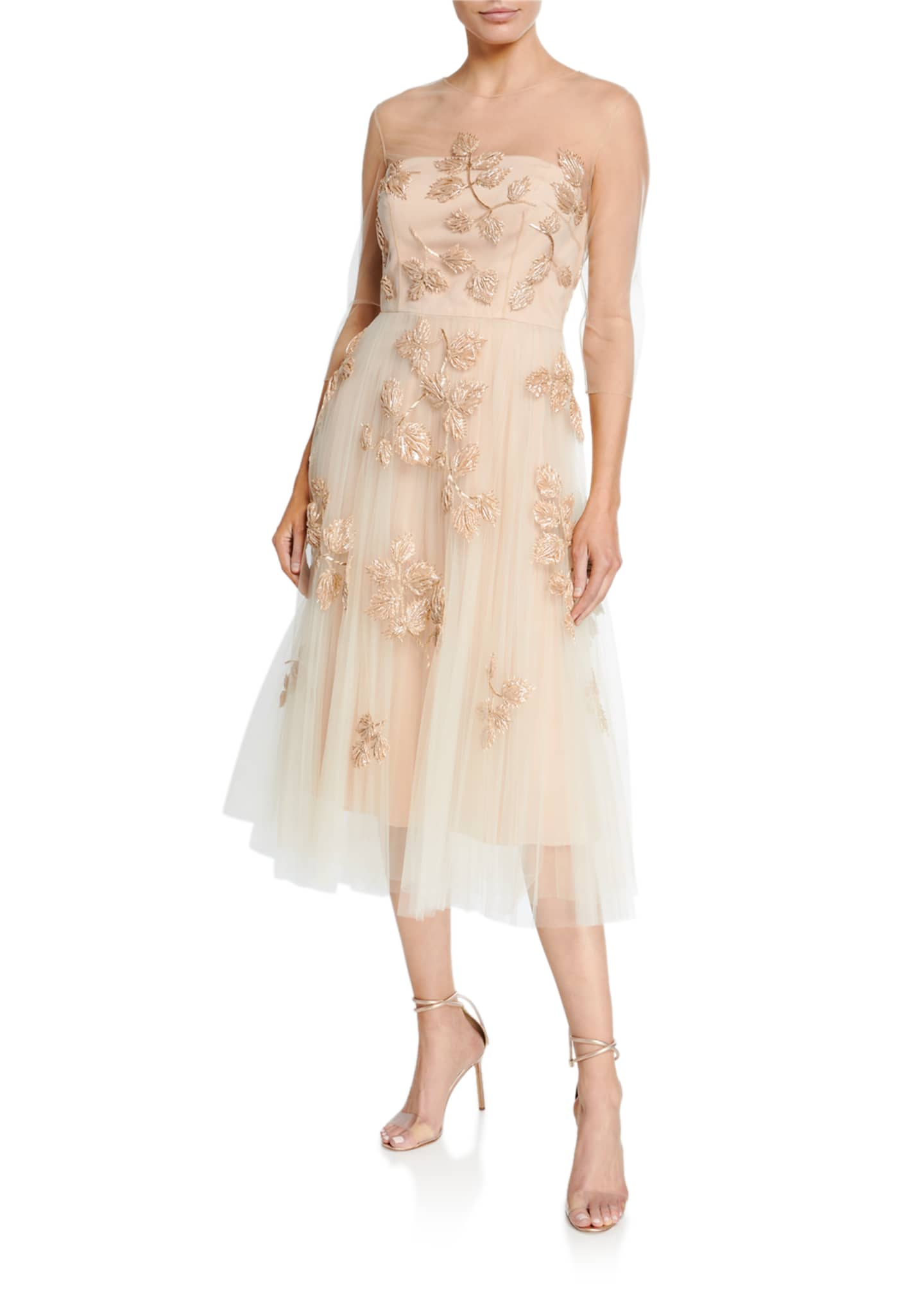 Carolina Herrera Leaf-Embroidered Tulle Illusion Dress
