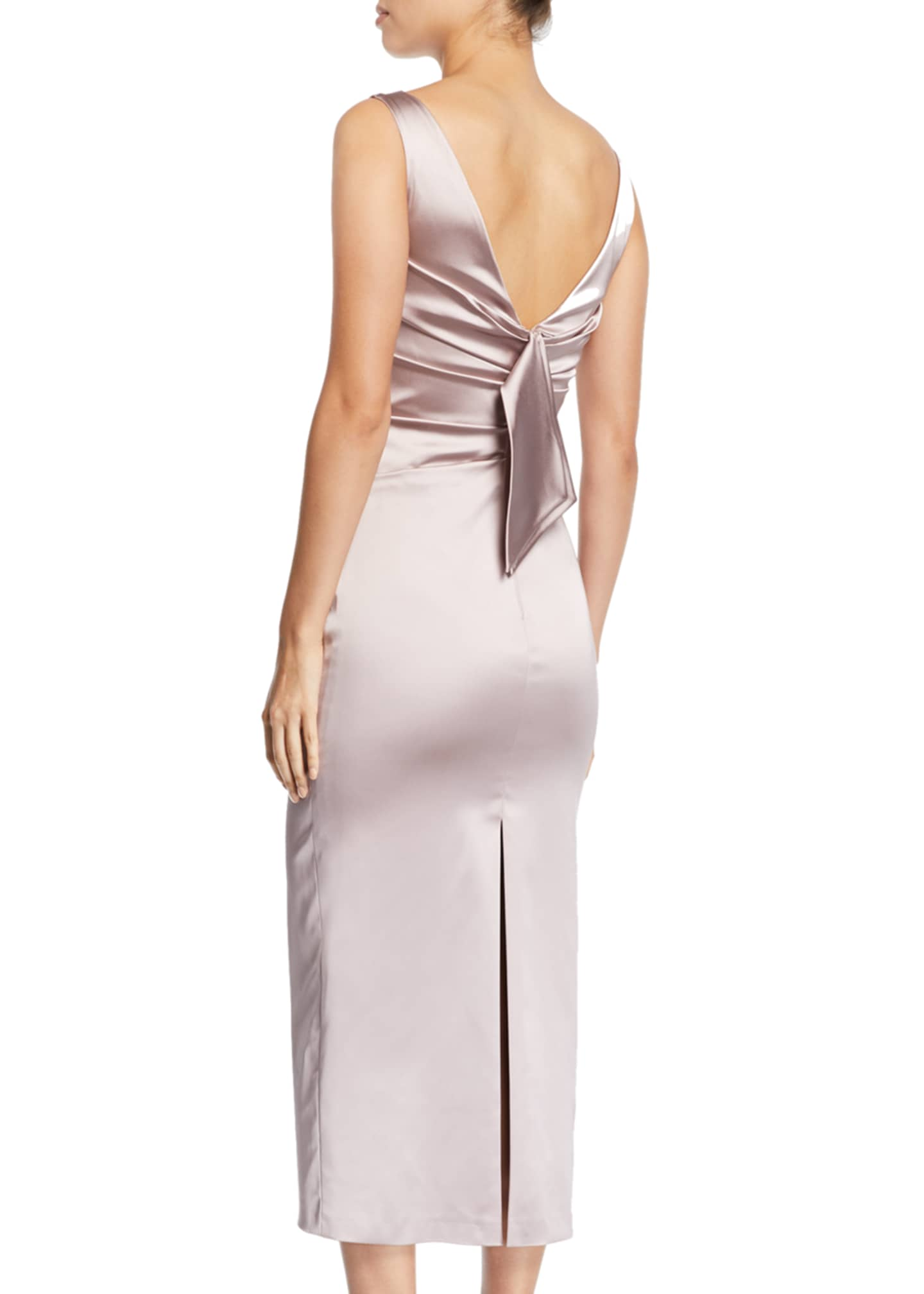 Image 2 of 2: Sleeveless Boat-Neck Ruched Satin Body-con Midi Cocktail Dress