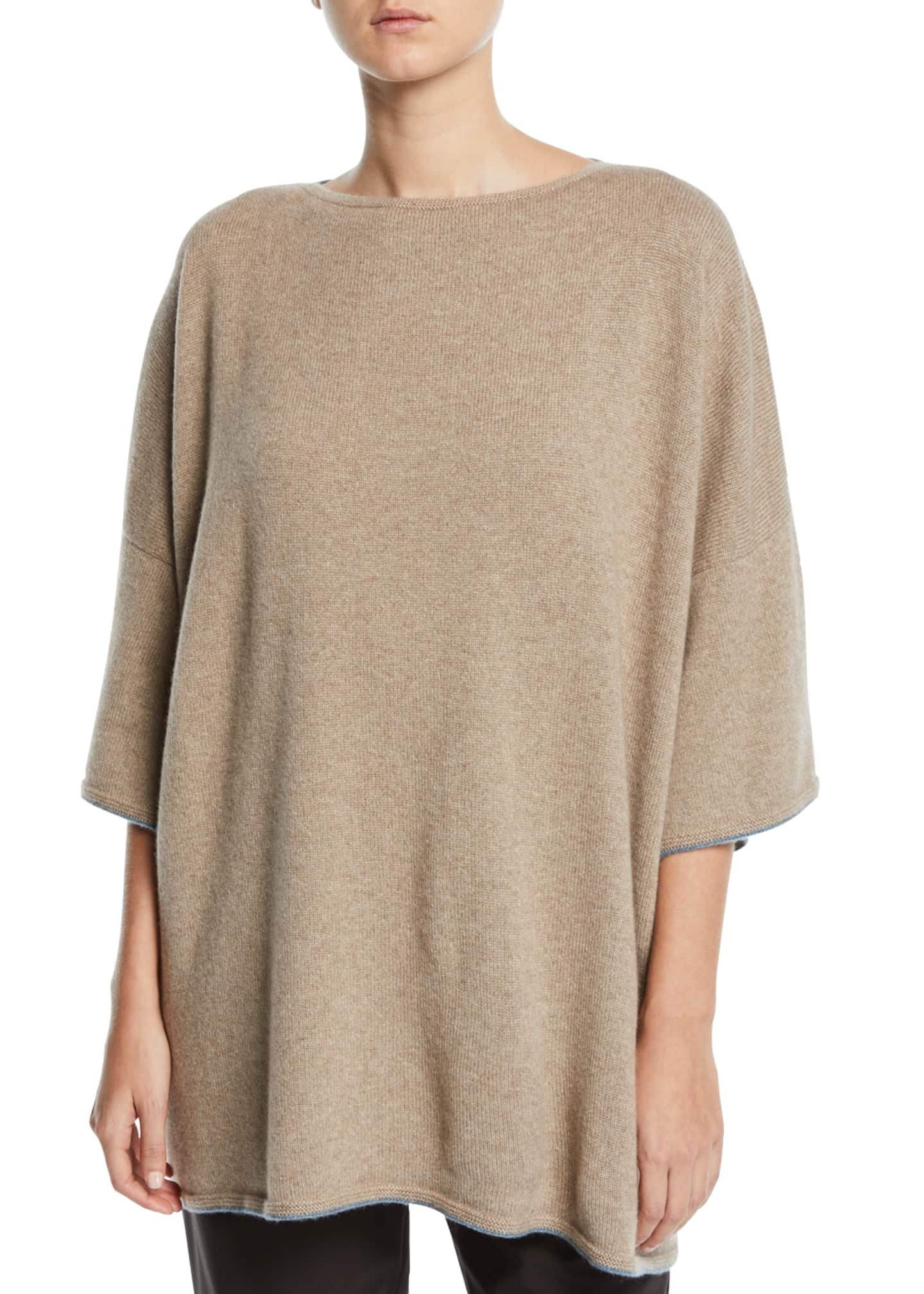 Eskandar 3/4-Sleeve Cashmere Draped Top