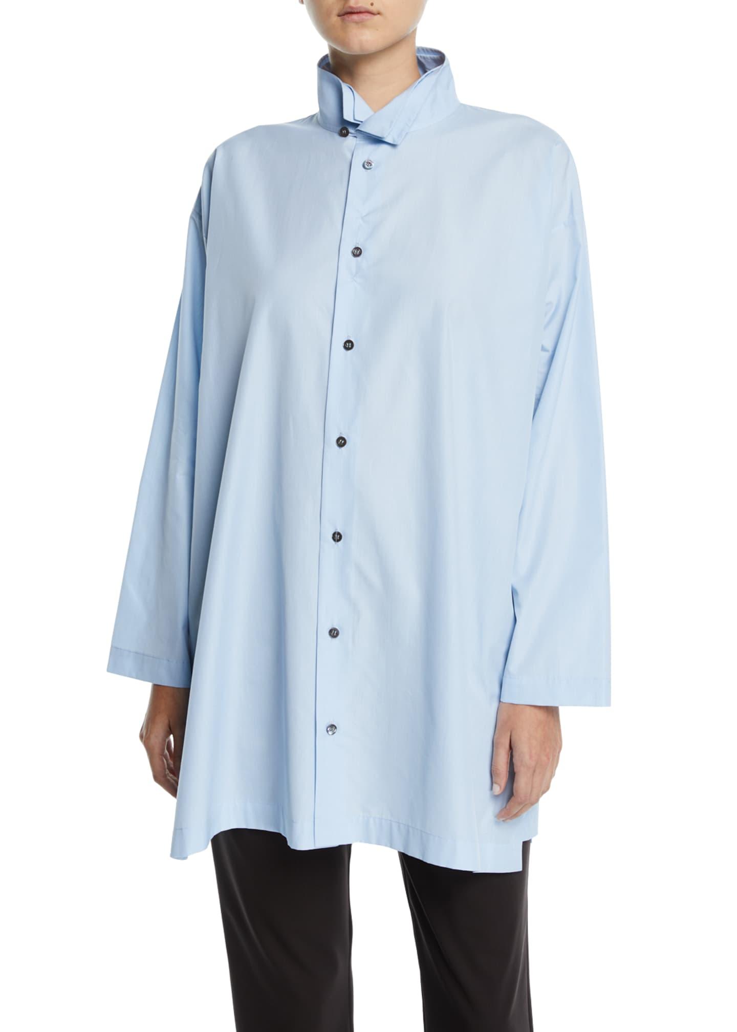 Eskandar Double-Collar Button-Front Blouse, Blue