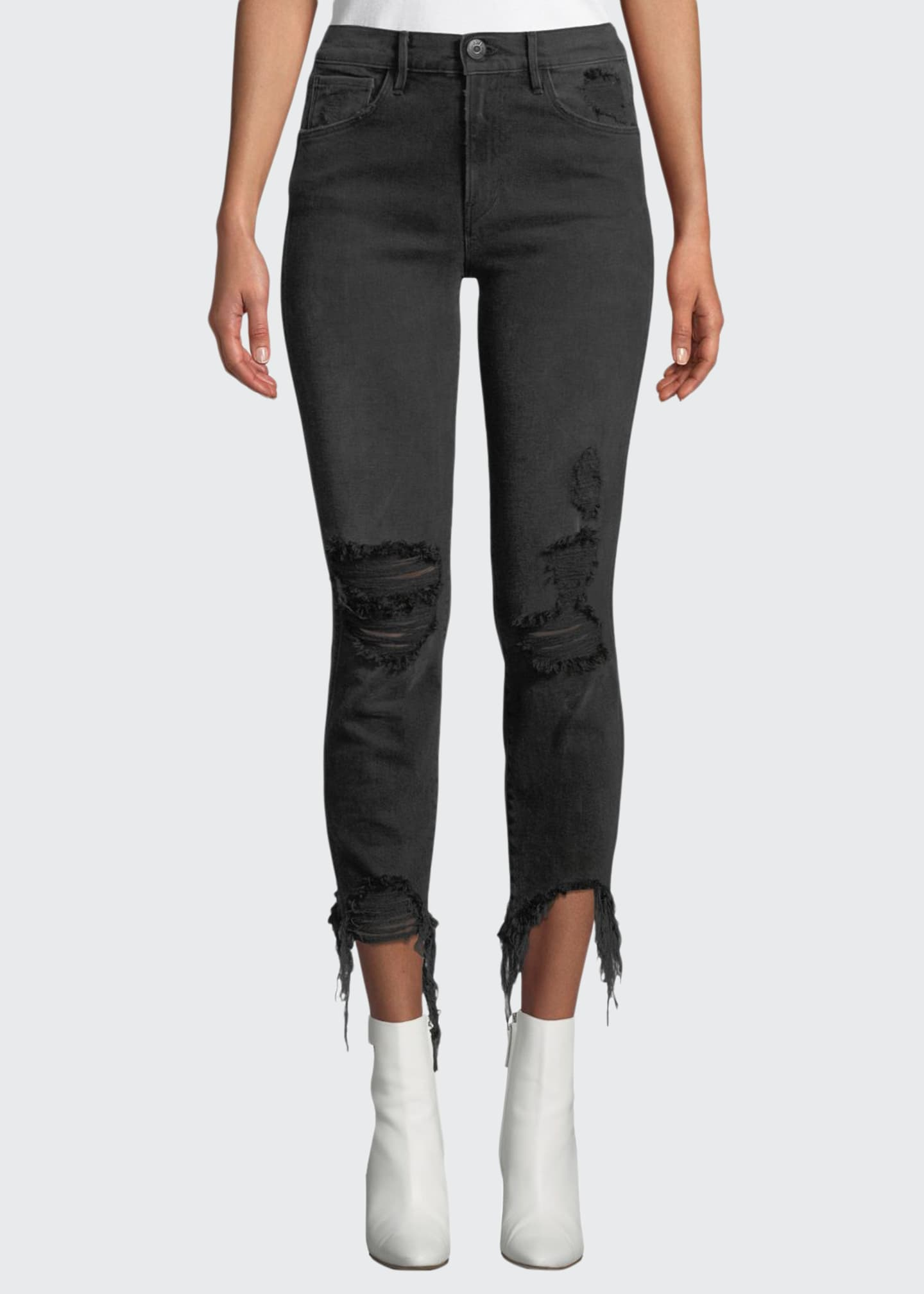 3x1 W3 Authentic Straight-Leg Crop Distressed Jeans