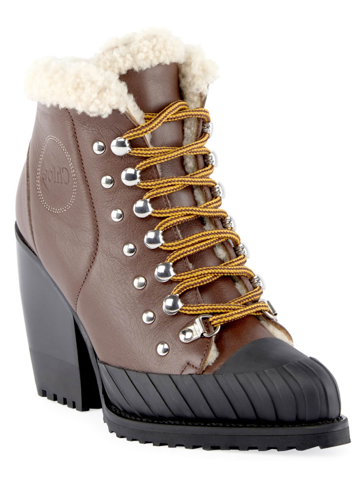 Chloe Lace-Up Fur-Trimmed Boots
