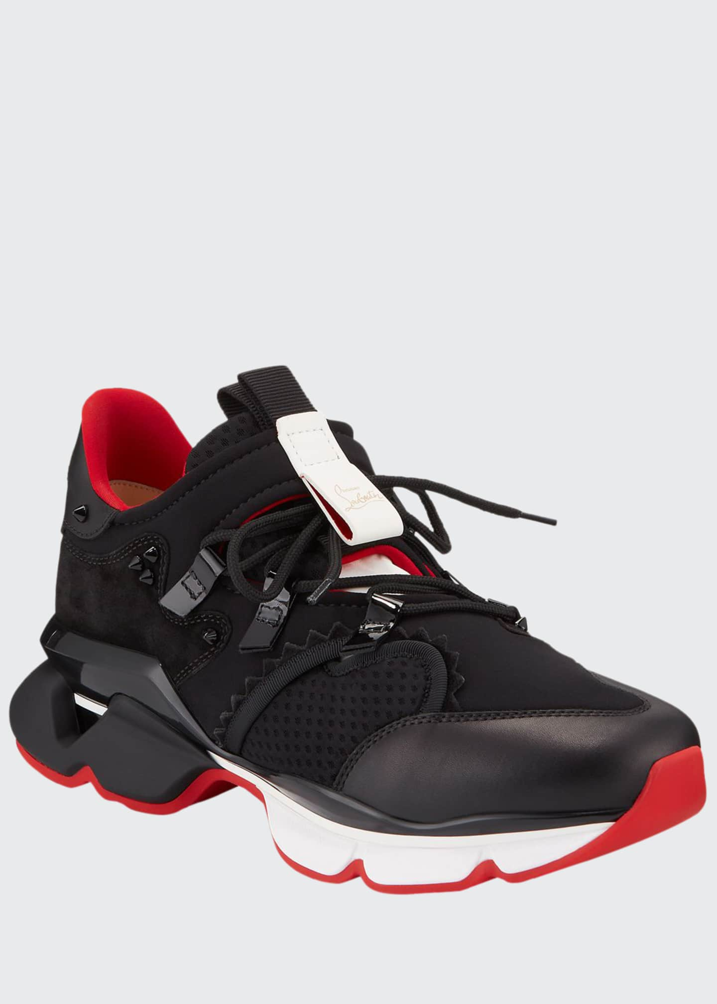 Christian Louboutin Men's Spiked-Trim Tricolor Active Sneakers