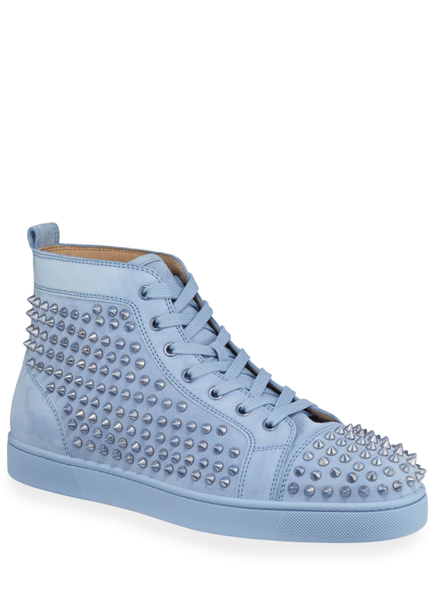 Christian Louboutin Men's Louis Spike-Studded Suede Sneakers