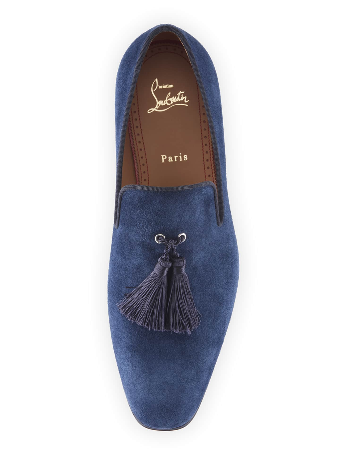 Image 3 of 3: Men's Velour Suede Tassel Loafers