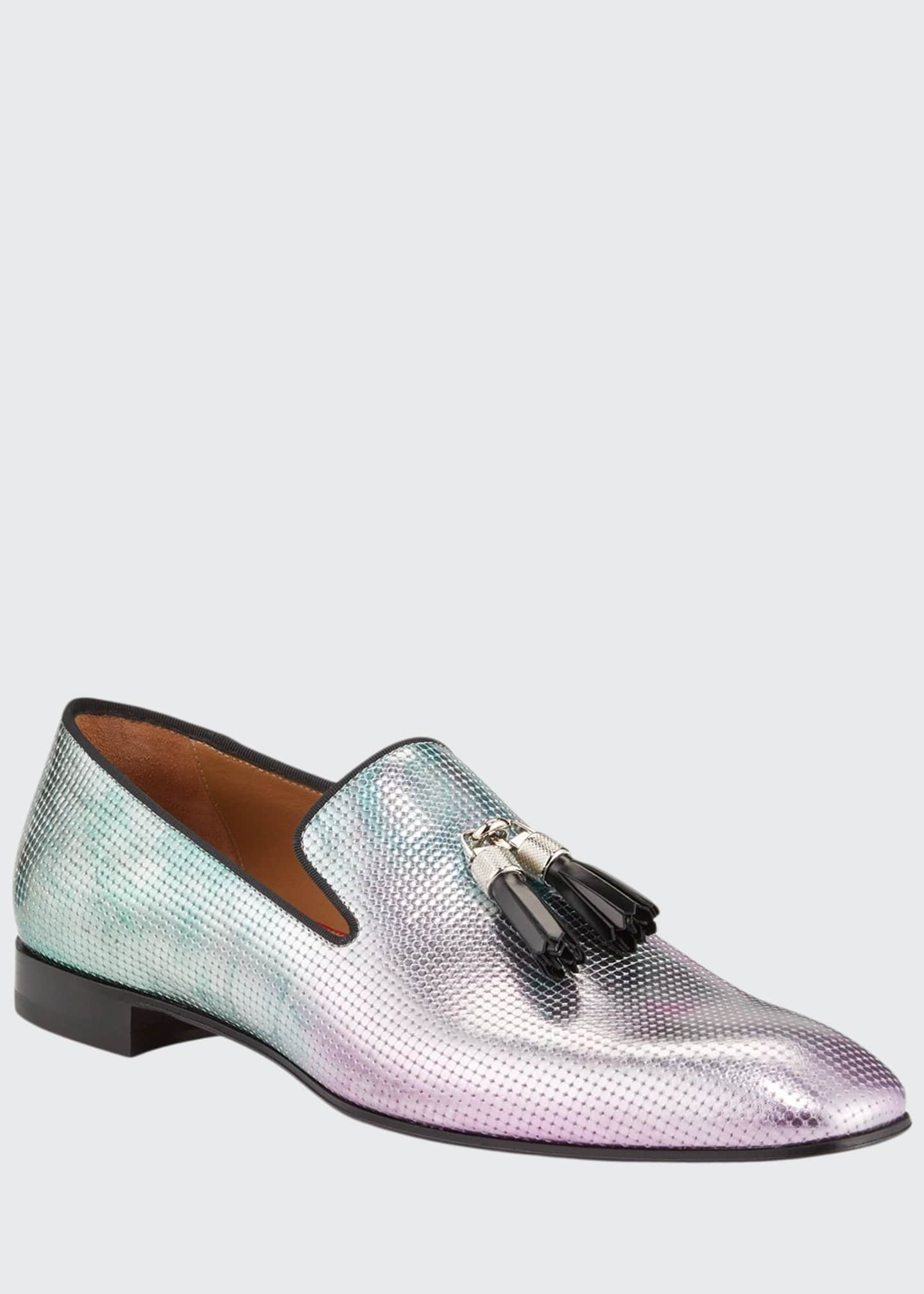 Christian Louboutin Men's Rivalion Iridescent Red Sole Loafers