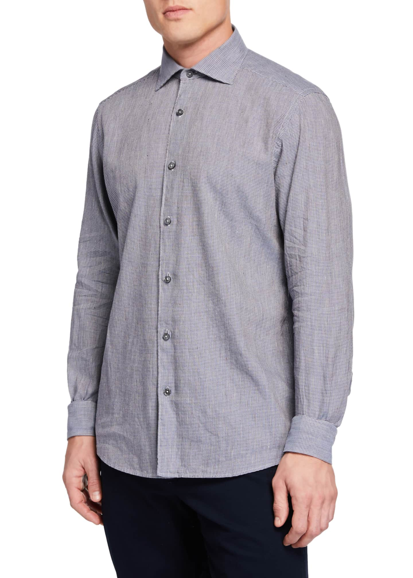 Ermenegildo Zegna Men's Long-Sleeve Houndstooth Sport Shirt