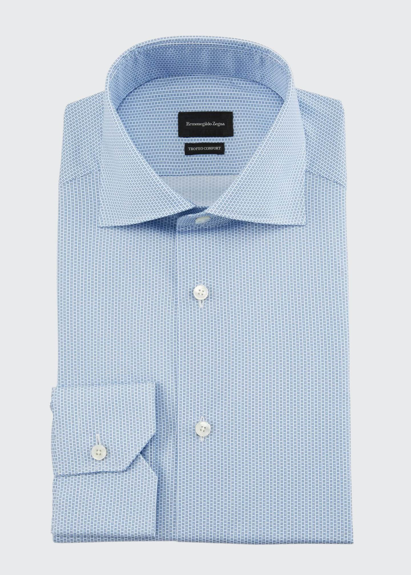 Ermenegildo Zegna Men's Trofeo Comfort Micro-Print Dress Shirt