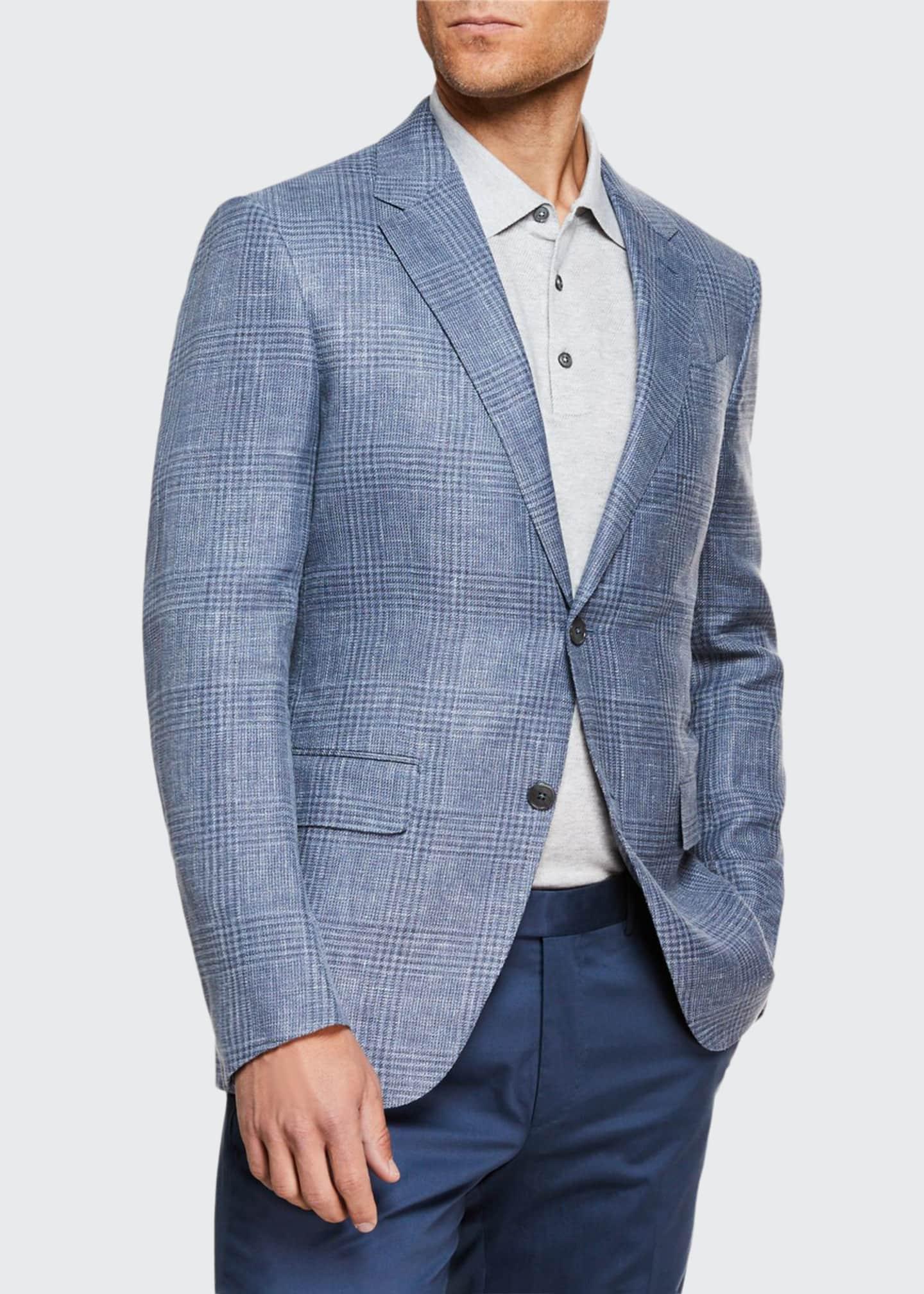 Ermenegildo Zegna Men's Plaid Crossover Two-Button Jacket