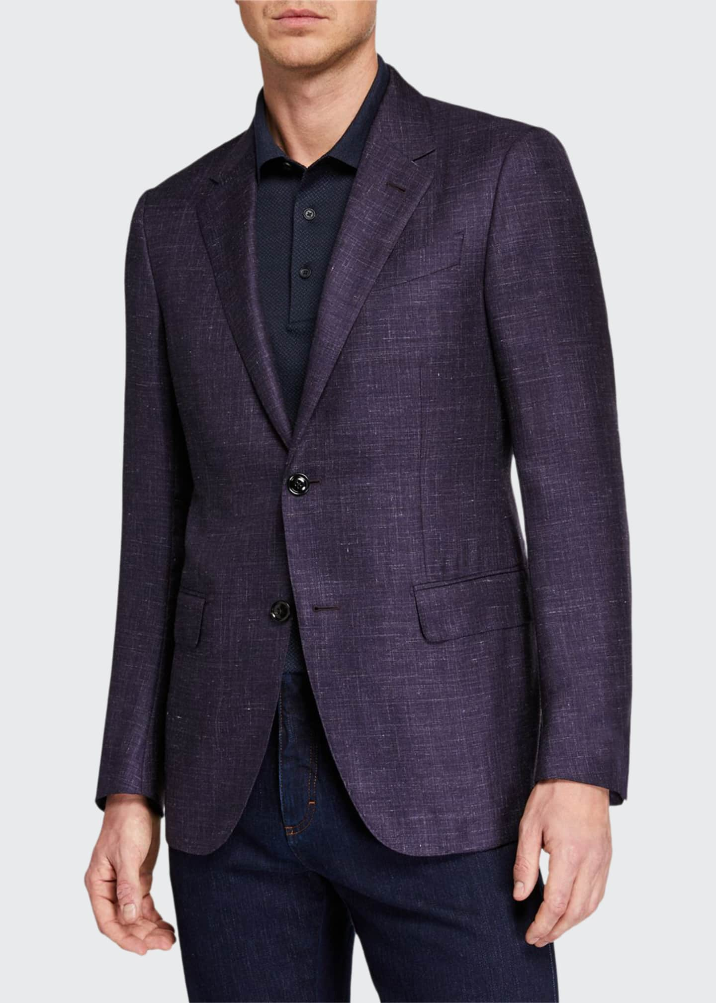 Ermenegildo Zegna Men's Heathered Cashmere-Silk Blazer