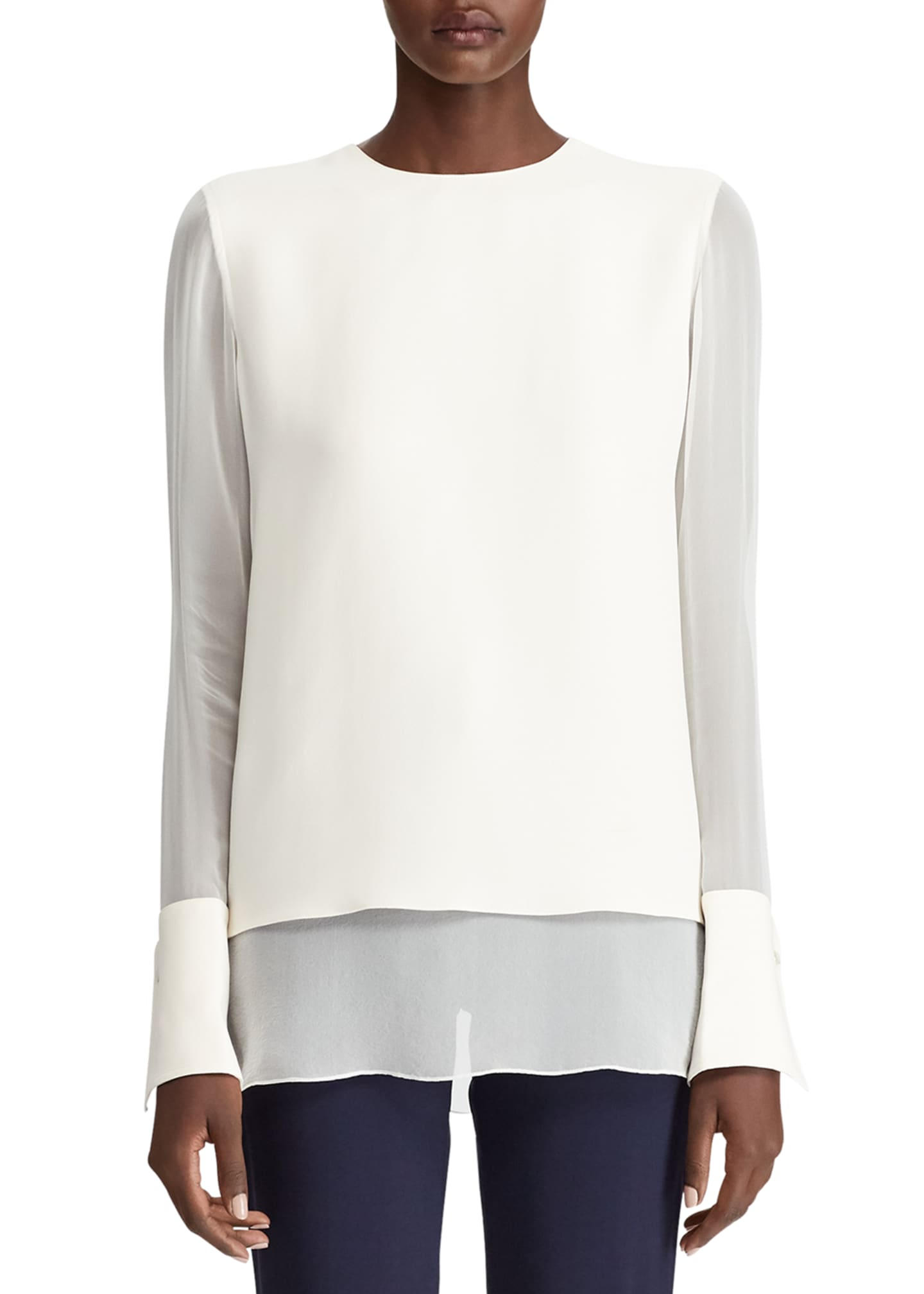 Image 1 of 3: Anders Crewneck Silk Top